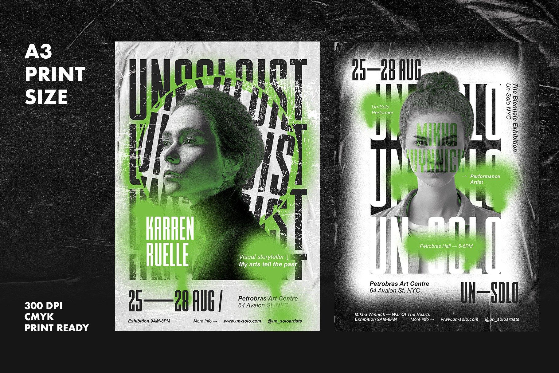 7款艺术气息做旧褶皱涂鸦效果城市街头传单海报设计PSD模板 Artist Event Poster Templates插图(1)