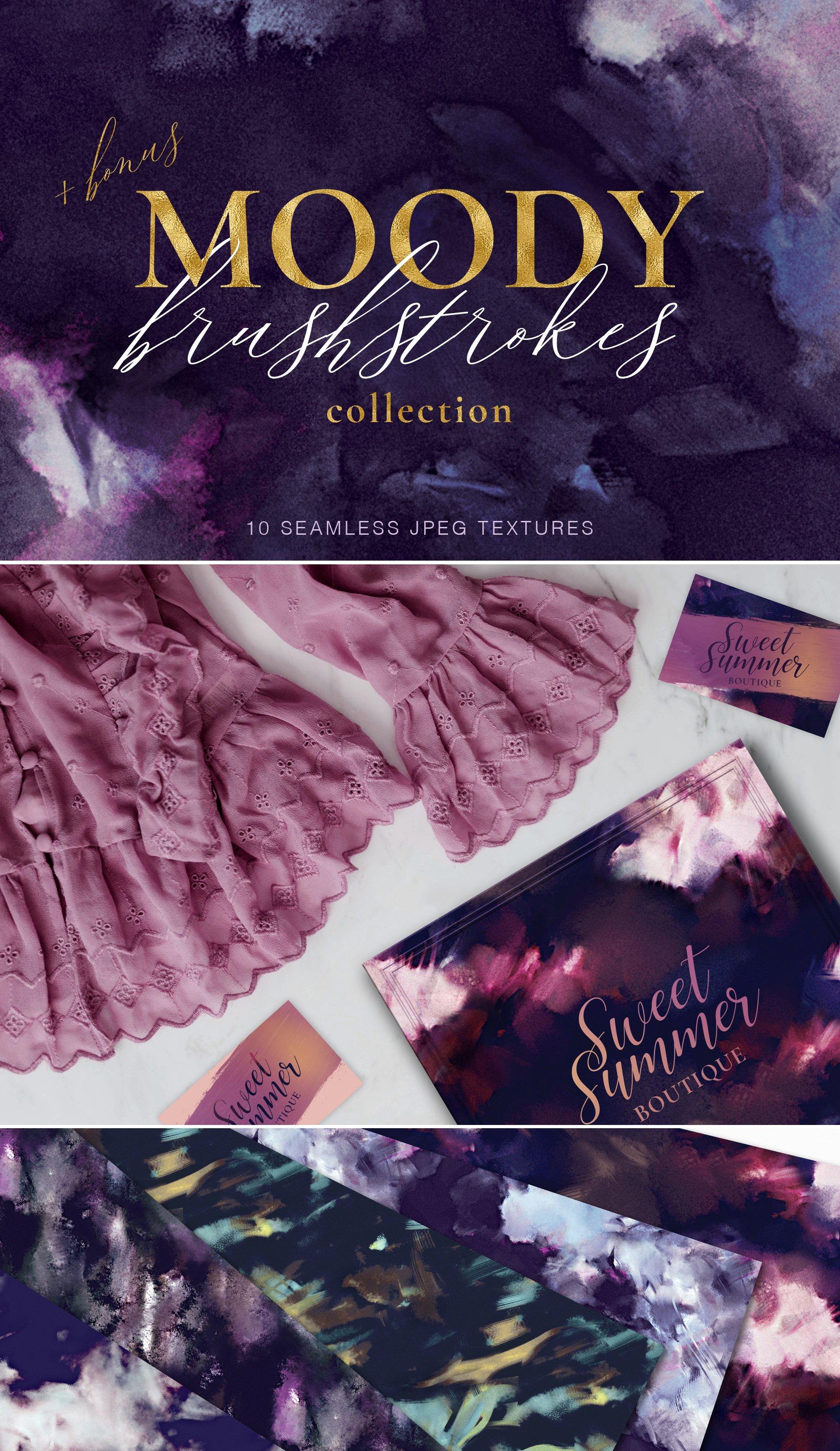抽象紫色海军蓝绿色调丙烯酸油漆笔刷背景纹理图片素材 Brushstroke Textures Collection插图