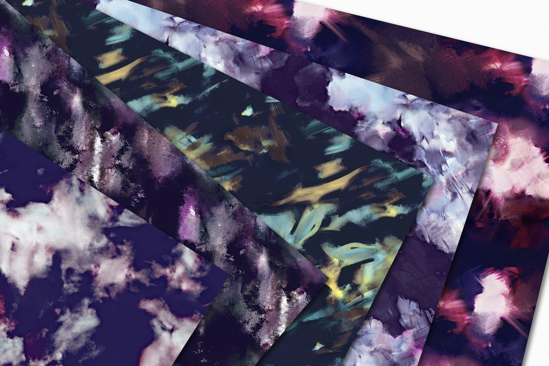 抽象紫色海军蓝绿色调丙烯酸油漆笔刷背景纹理图片素材 Brushstroke Textures Collection插图(2)