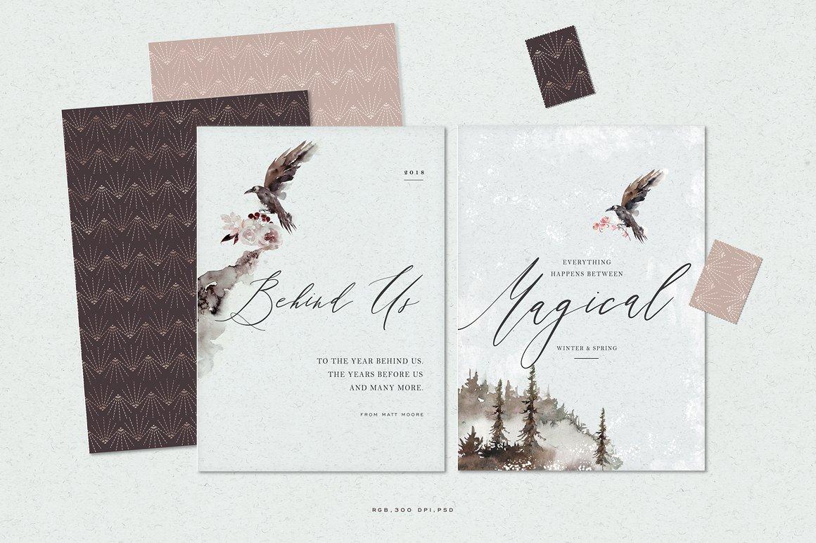 100多款高清手绘花卉植物山脉水彩画PNG透明图片素材 Woodland Ravens Field插图(5)