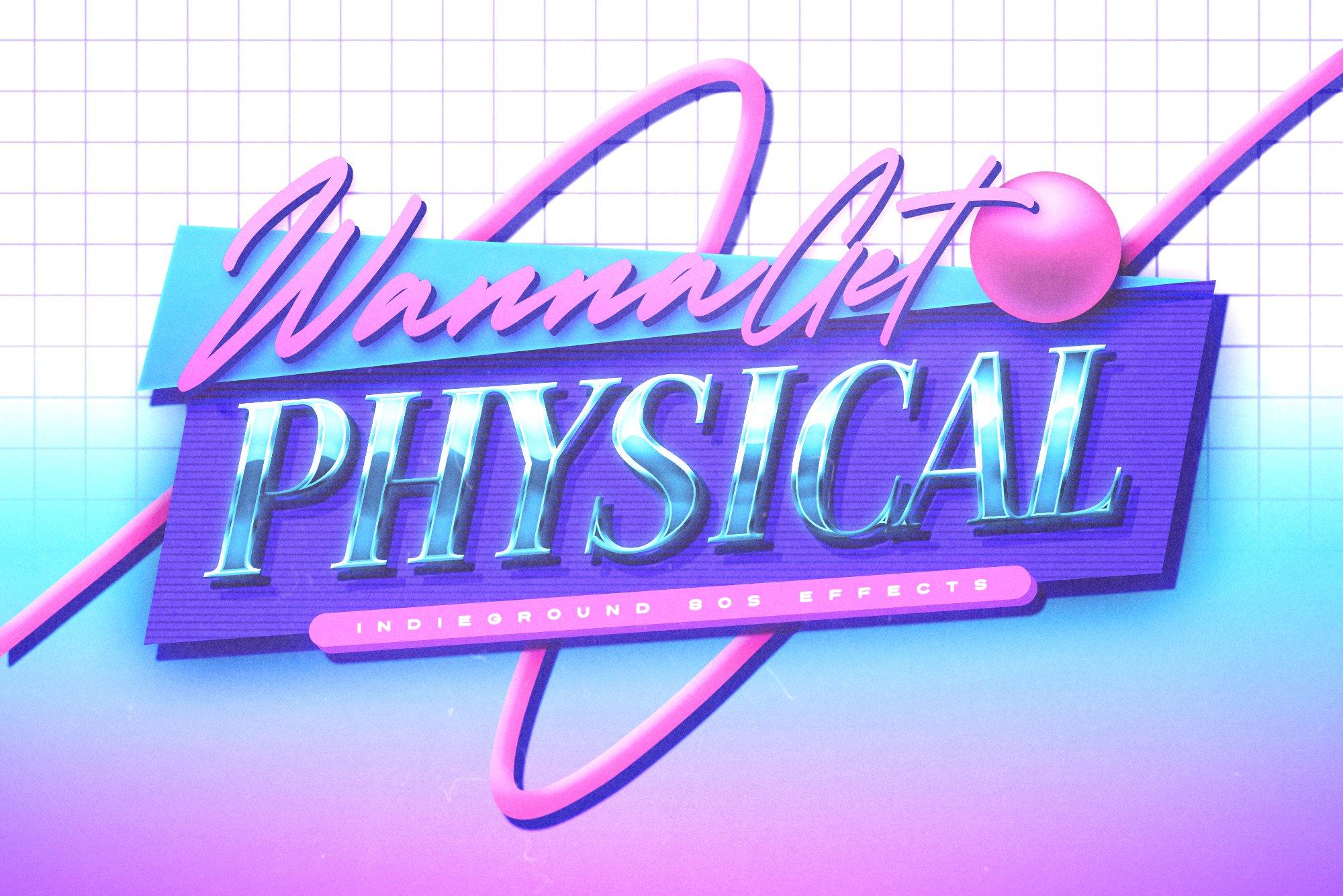炫酷80年代复古蒸汽朋克3D海报标题文字设计PS样式模板 80s Text Effects Vol.3插图(7)