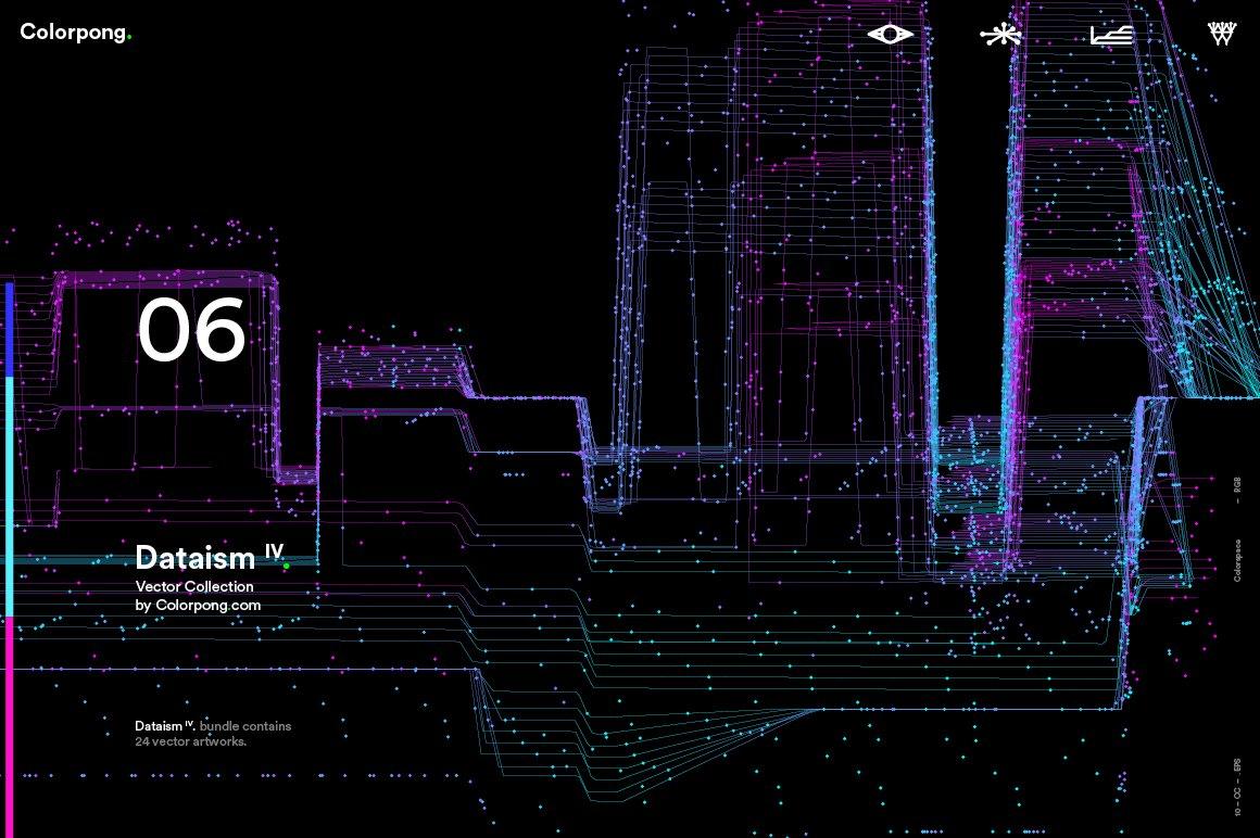[淘宝购买] 潮流炫酷抽象多彩流动数据传输网格粒子线条EPS矢量素材 Dataism IV – Vector Bundle插图(2)