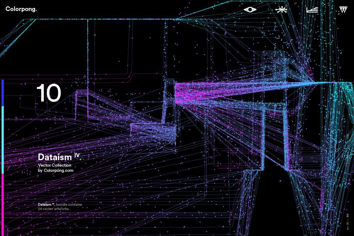 [淘宝购买] 潮流炫酷抽象多彩流动数据传输网格粒子线条EPS矢量素材 Dataism IV – Vector Bundle插图(4)