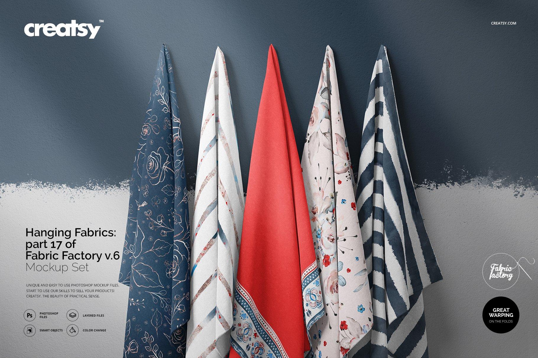 悬挂纺织面料印花设计展示样机 Hanging Fabrics Mockup 17/FF v.6插图