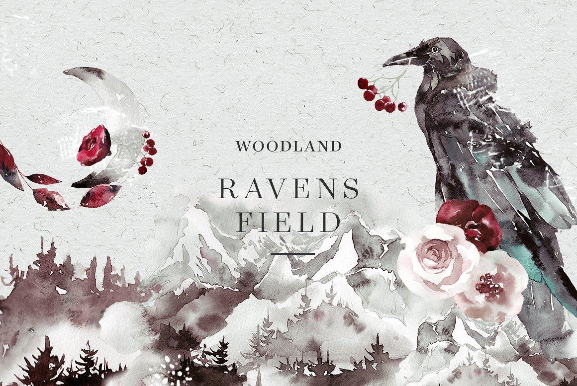 100多款高清手绘花卉植物山脉水彩画PNG透明图片素材 Woodland Ravens Field插图