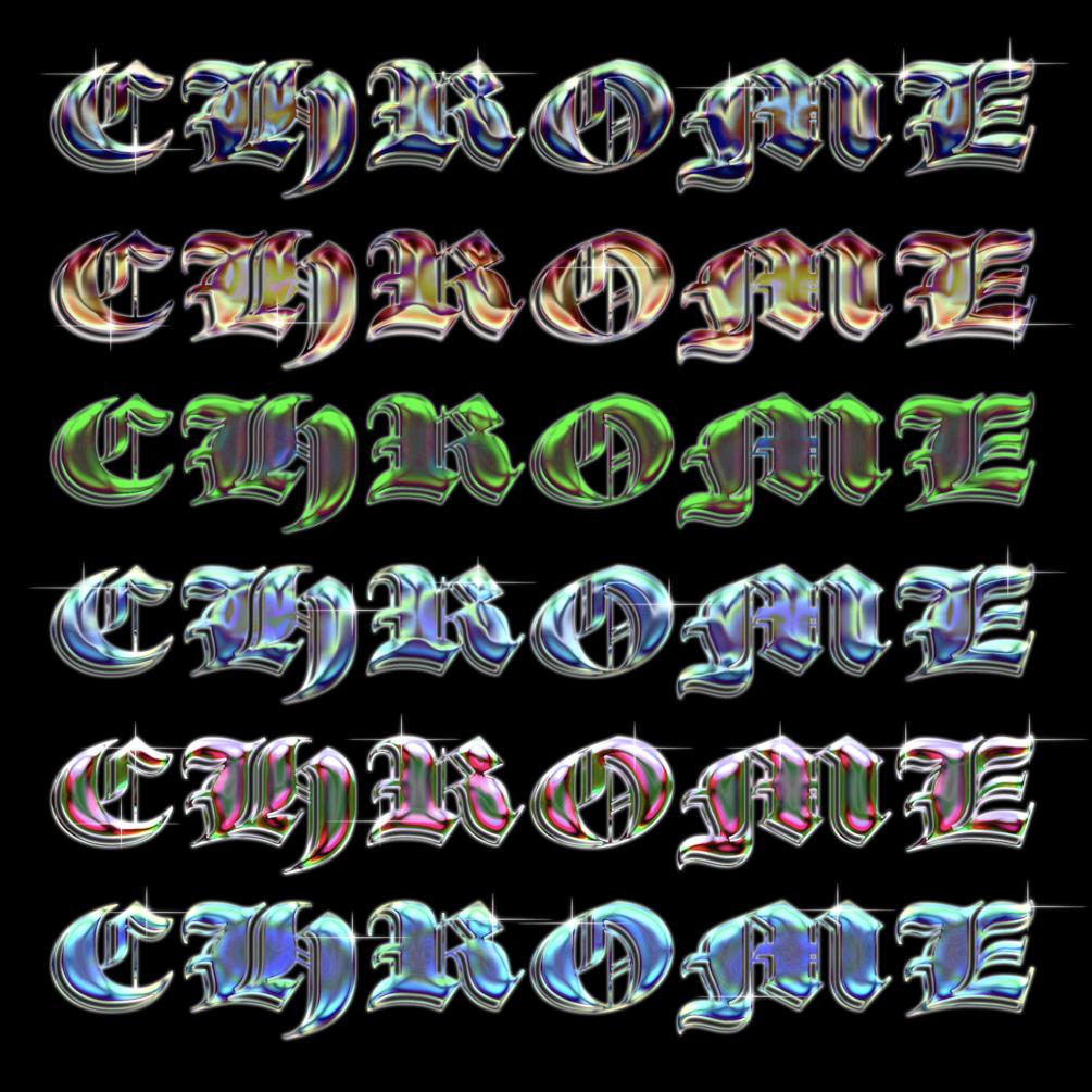 [淘宝购买] 6种全息渐变圆润立体金属标题字体设计PS样式模板 Chrome Template 08插图