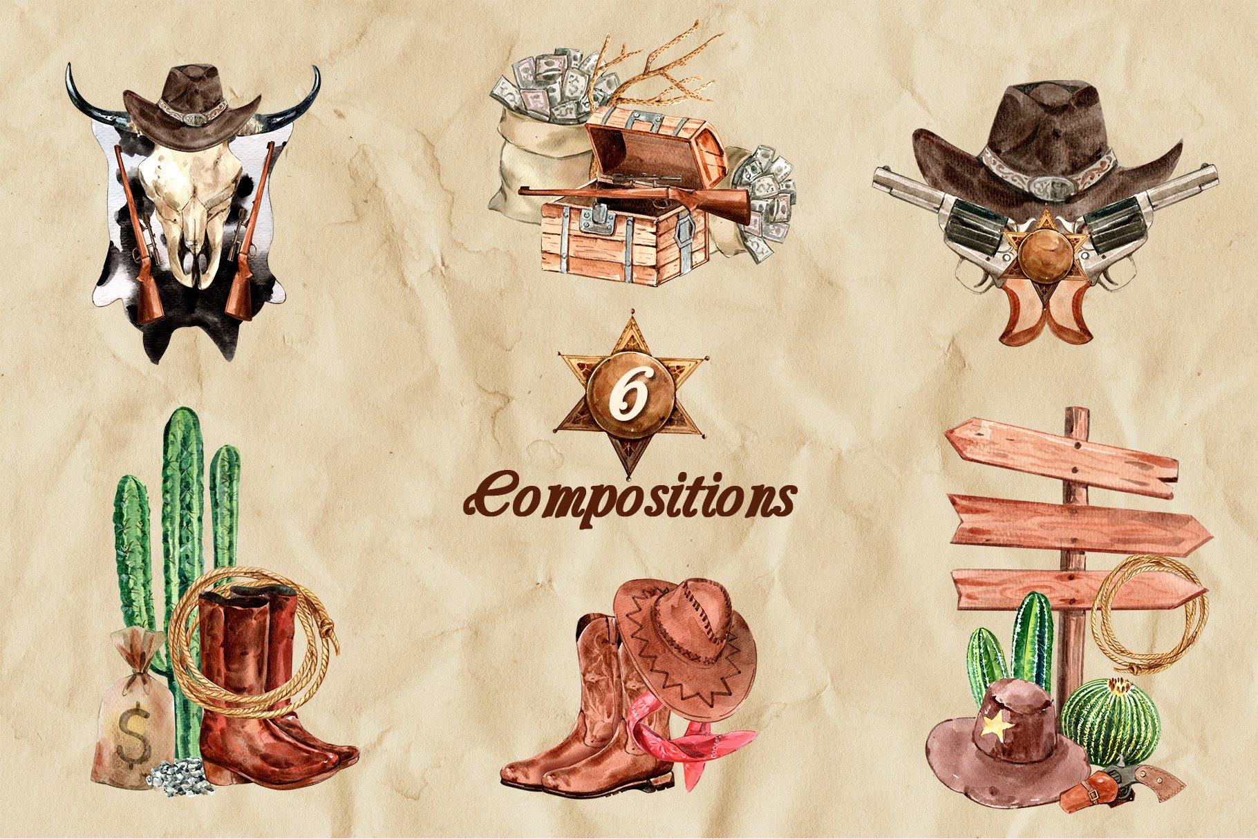牛仔英雄元素水彩剪贴画PNG免抠图片素材 The Story of Cowboy Hero Watercolors Set插图(1)