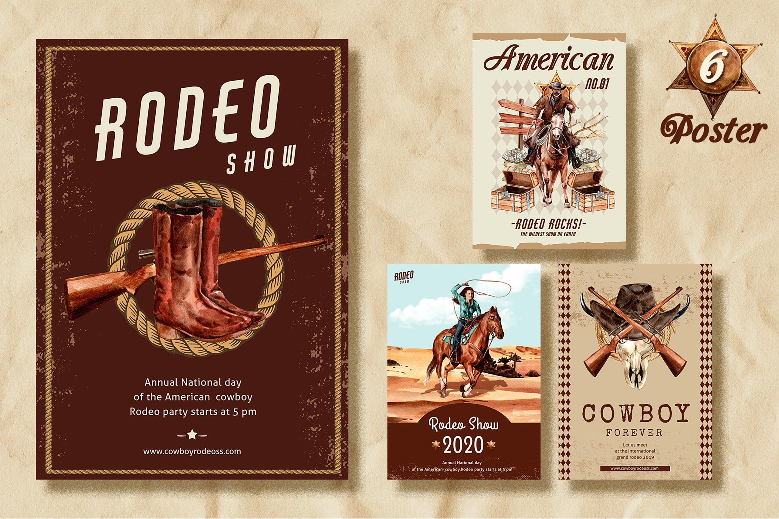 牛仔英雄元素水彩剪贴画PNG免抠图片素材 The Story of Cowboy Hero Watercolors Set插图(4)