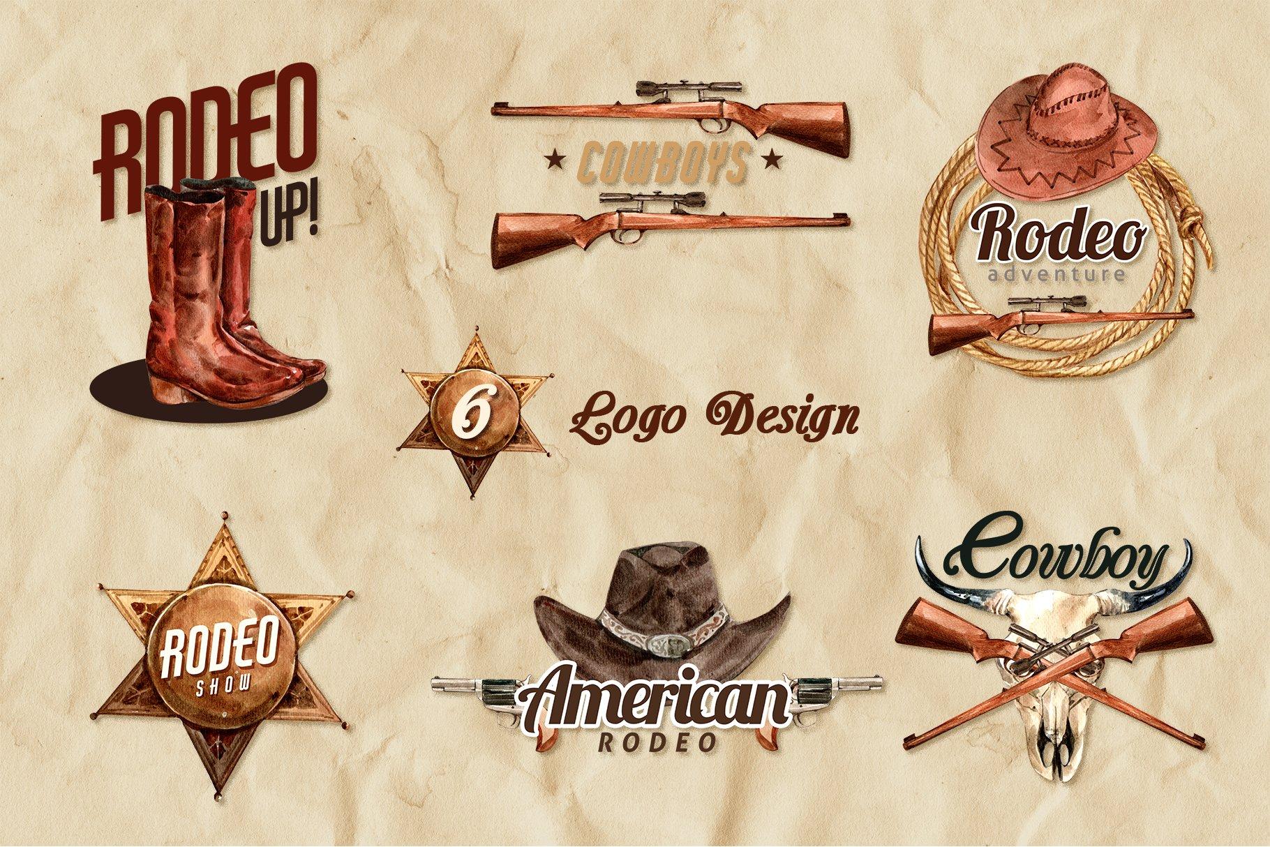 牛仔英雄元素水彩剪贴画PNG免抠图片素材 The Story of Cowboy Hero Watercolors Set插图(6)