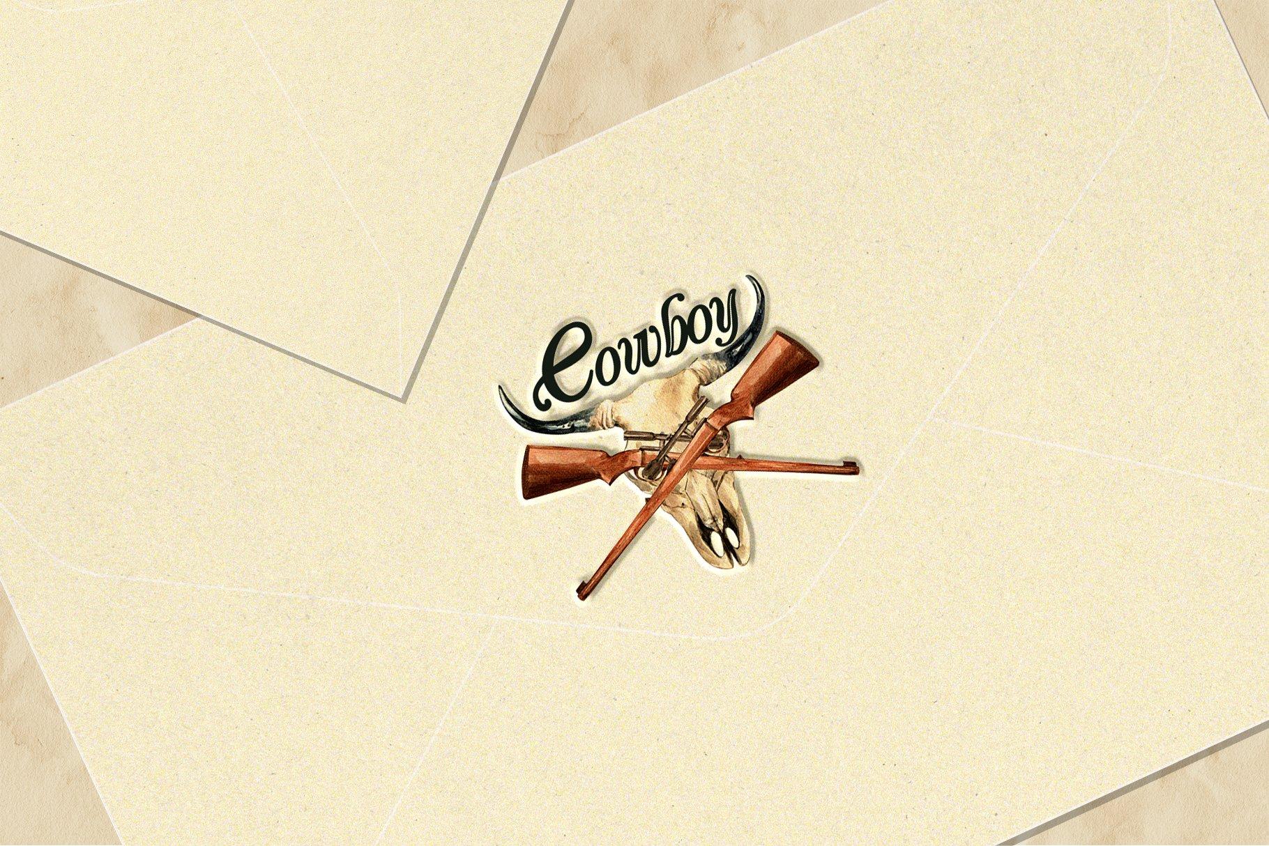 牛仔英雄元素水彩剪贴画PNG免抠图片素材 The Story of Cowboy Hero Watercolors Set插图(7)