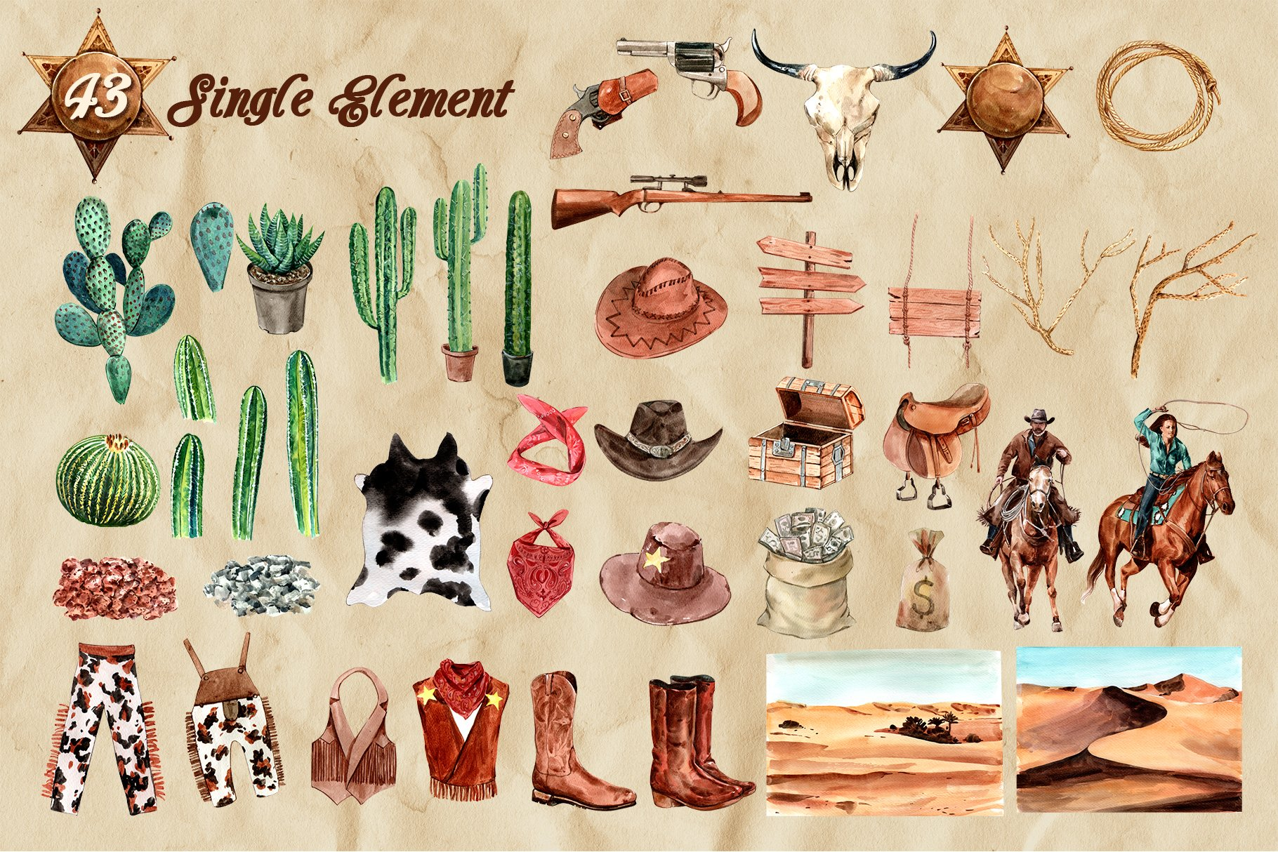 牛仔英雄元素水彩剪贴画PNG免抠图片素材 The Story of Cowboy Hero Watercolors Set插图(8)