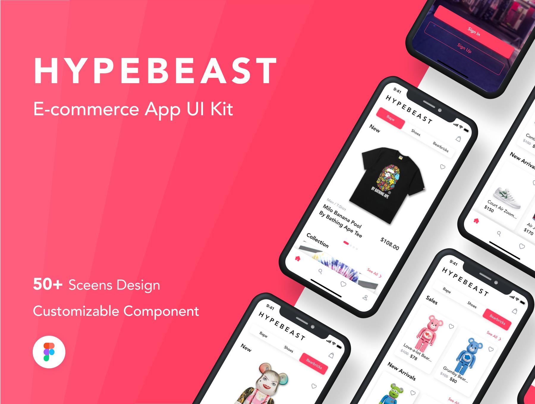 在线购物电子商务应用程序APP UI套件FIG模板 HypeBeast – E-commerce App UI Kit插图