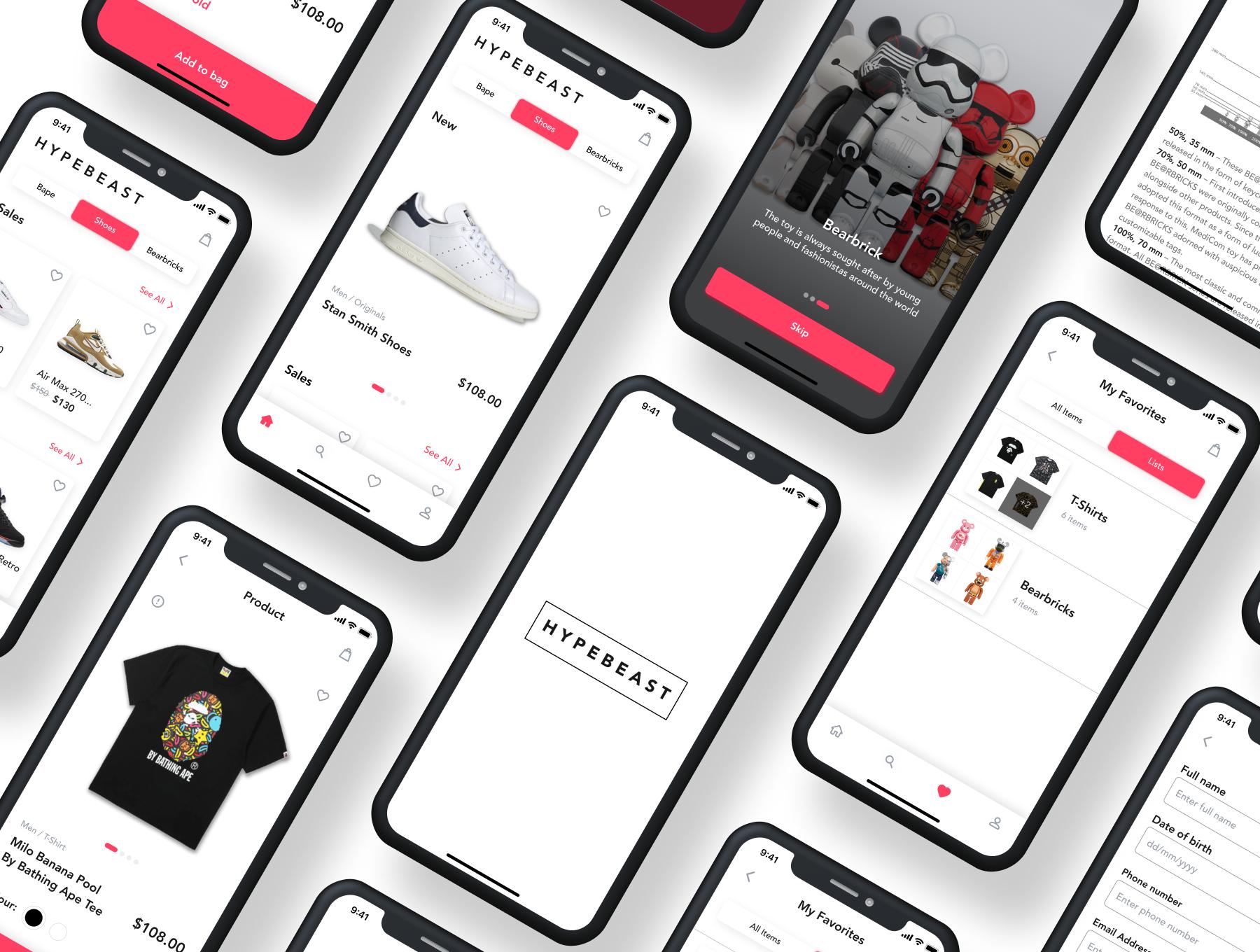在线购物电子商务应用程序APP UI套件FIG模板 HypeBeast – E-commerce App UI Kit插图(1)