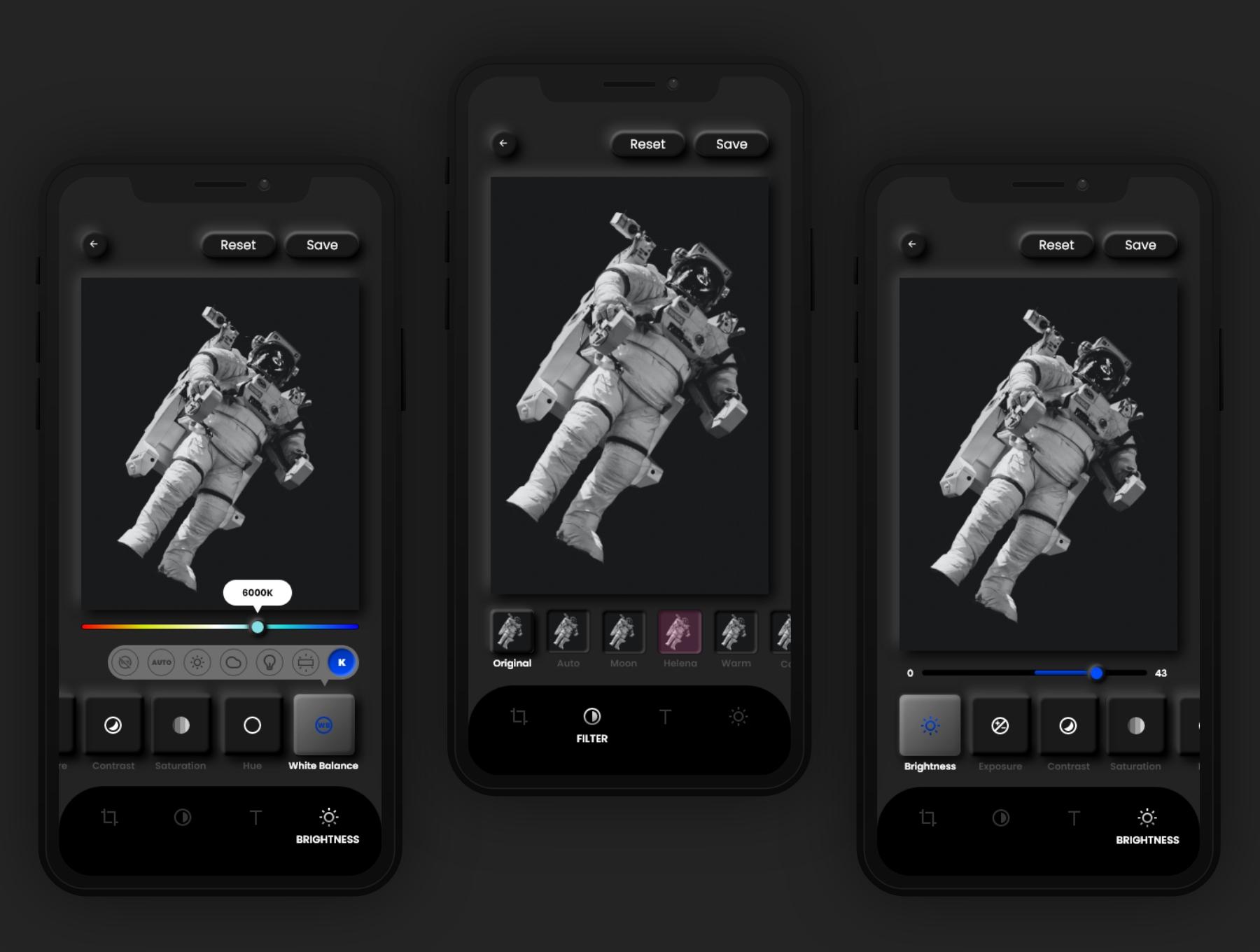 暗黑照片编辑管理社交应用程序APP UI套件 Dark Universe – Photo Editing App Neumorphic UI Kit (Dark Mode)插图(5)