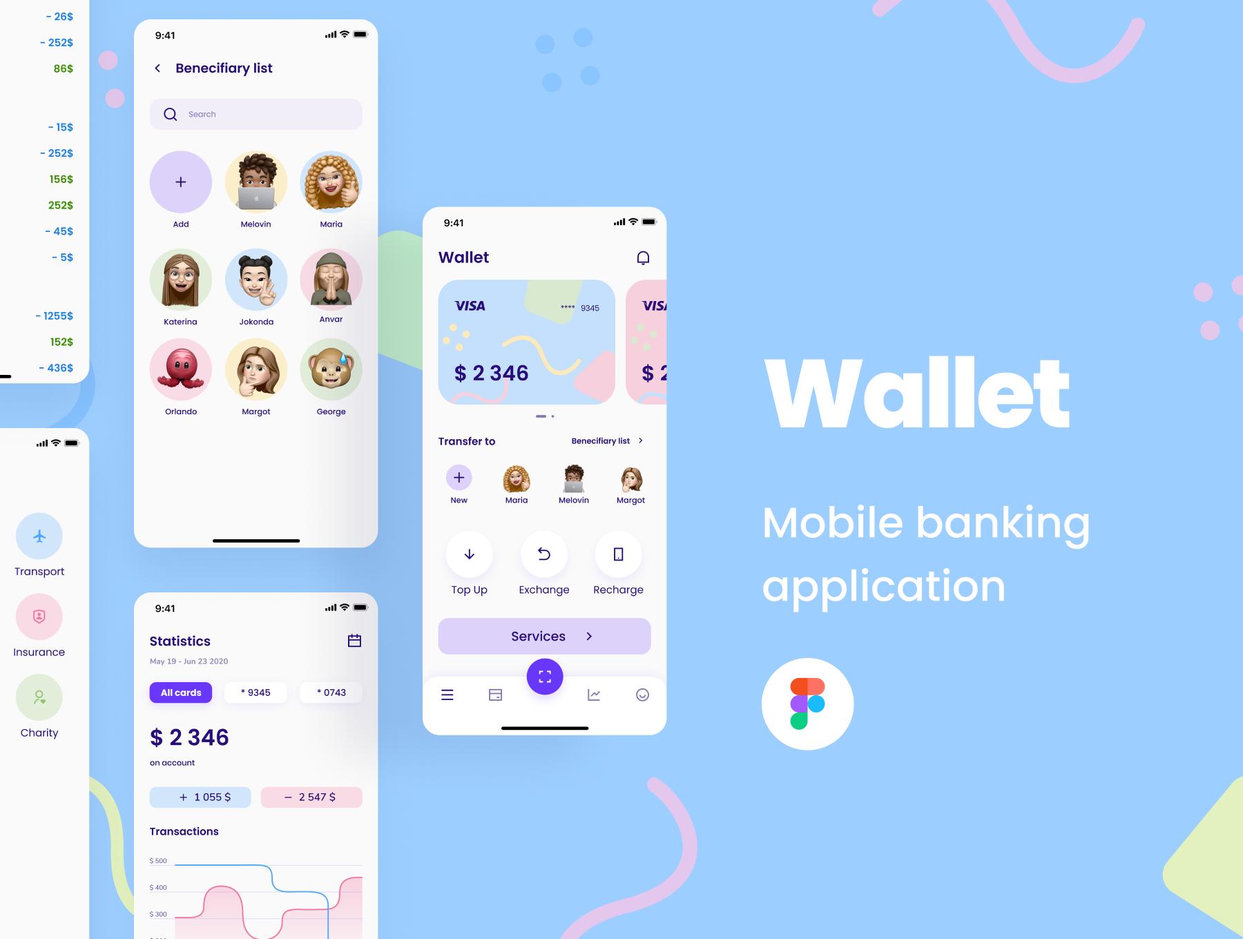 金融电子钱包应用程序APP UI套件FIG模板 Wallet UI KIT插图