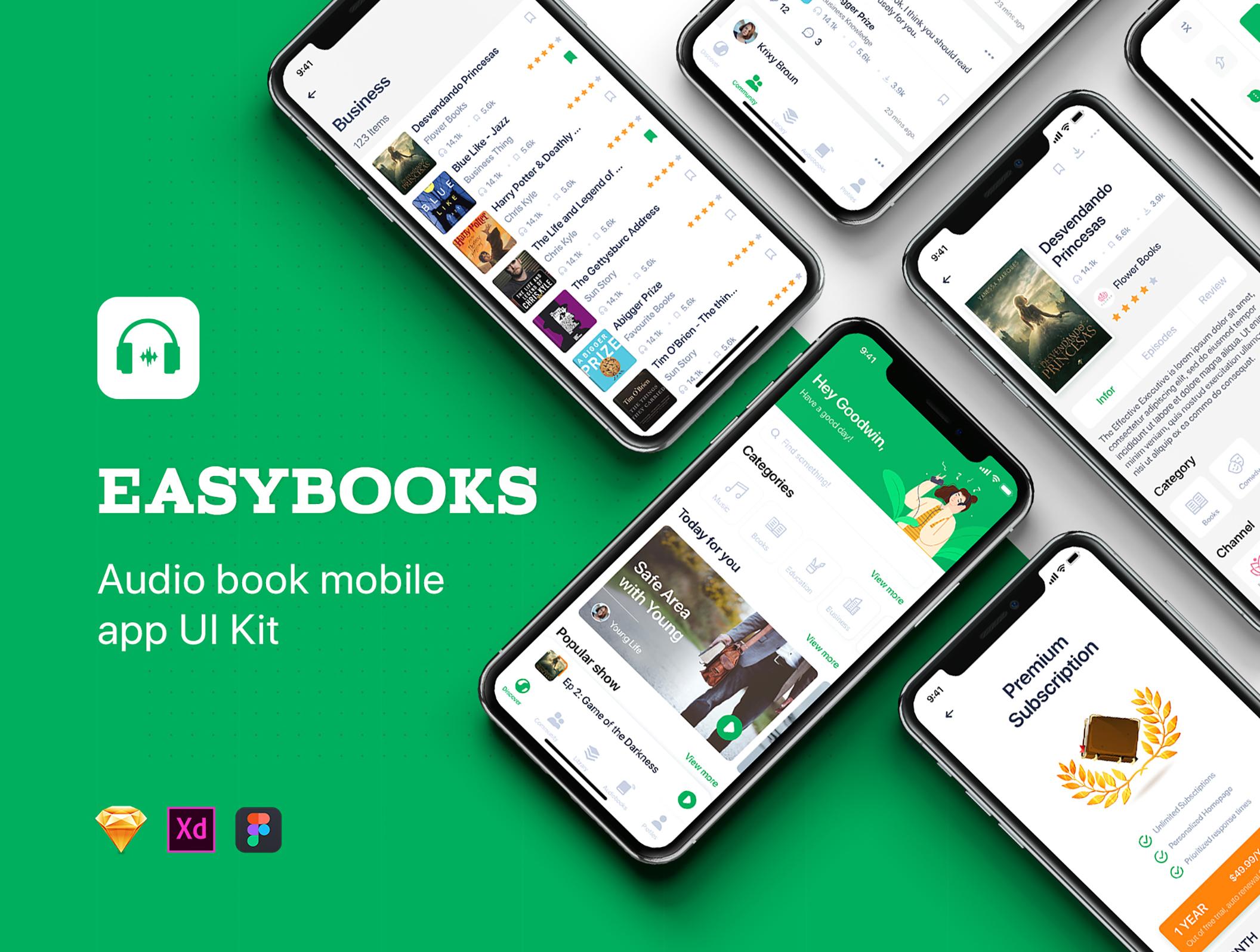 有声读书IOS应用程序APP UI套件 Easybooks – Audiobook UI Kit插图