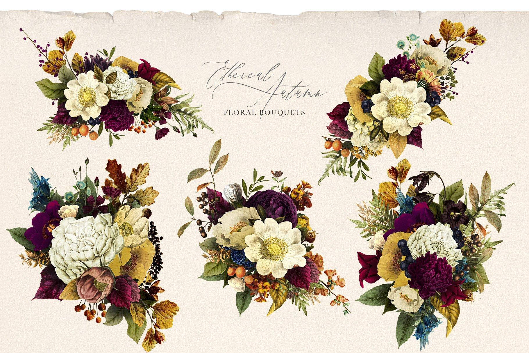 35款高清复古植物花卉平面广告背景设计PNG免抠图片素材 Ethereal Autumn Floral Bouquets插图(2)