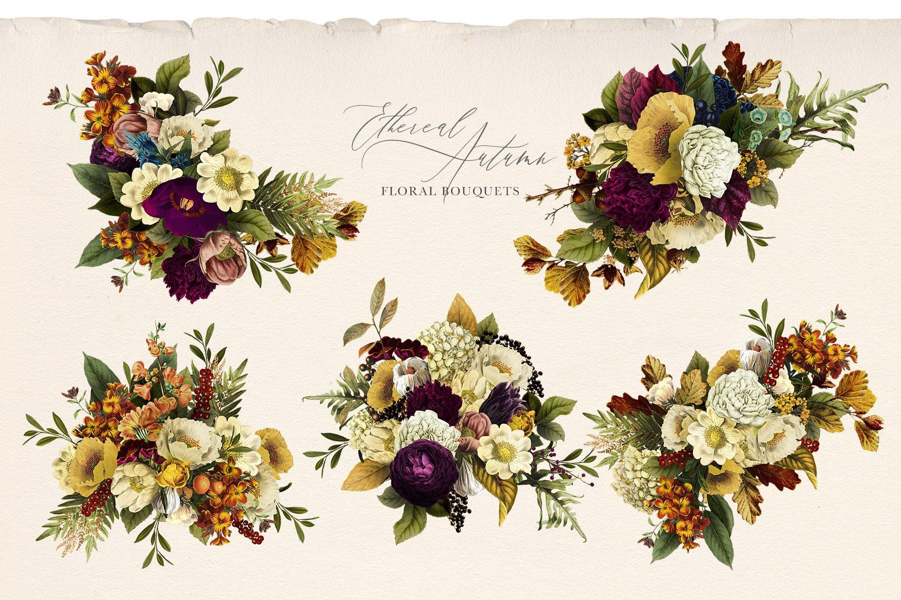35款高清复古植物花卉平面广告背景设计PNG免抠图片素材 Ethereal Autumn Floral Bouquets插图(3)