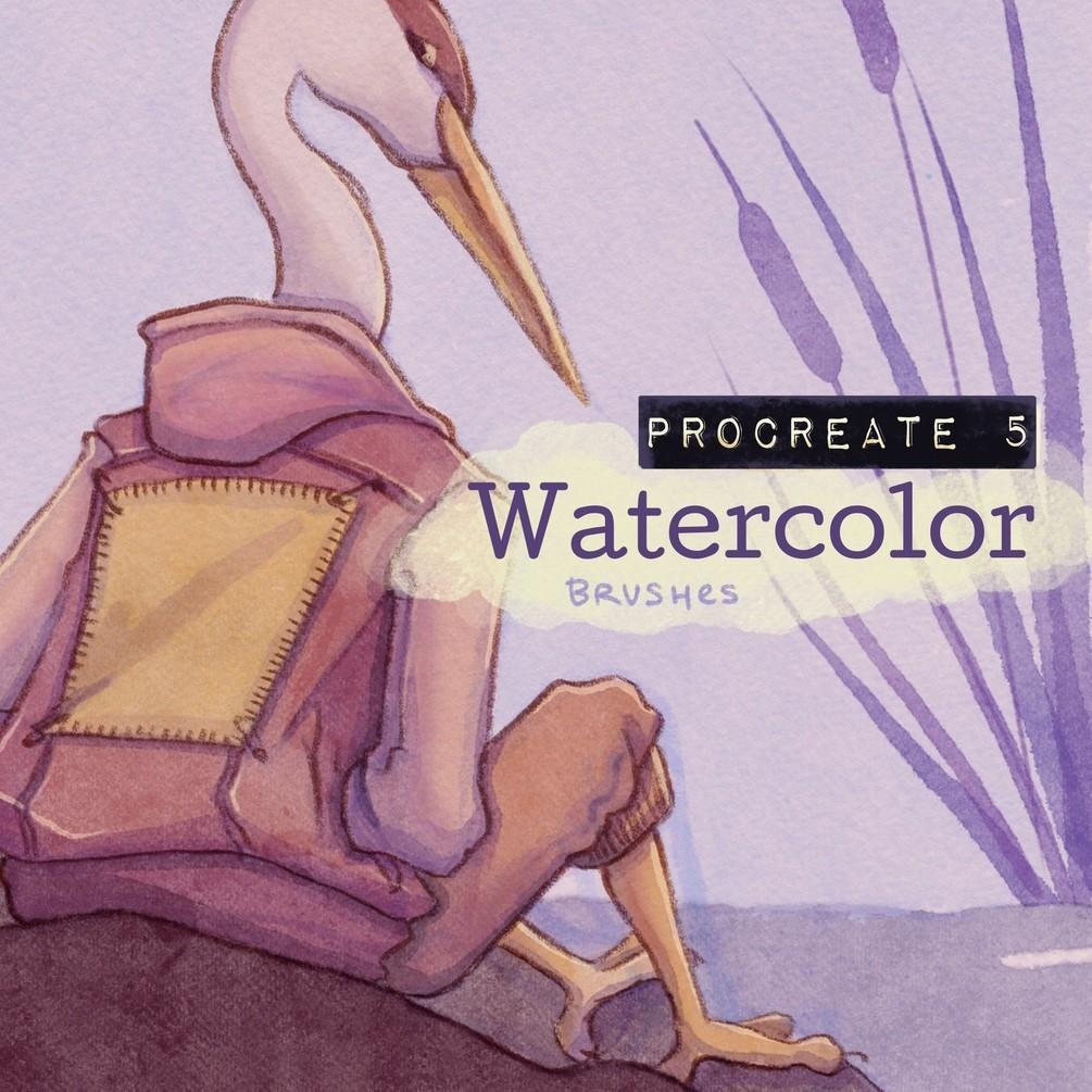 水彩效果Procreate笔刷下载 Procreate Watercolor Brushes插图
