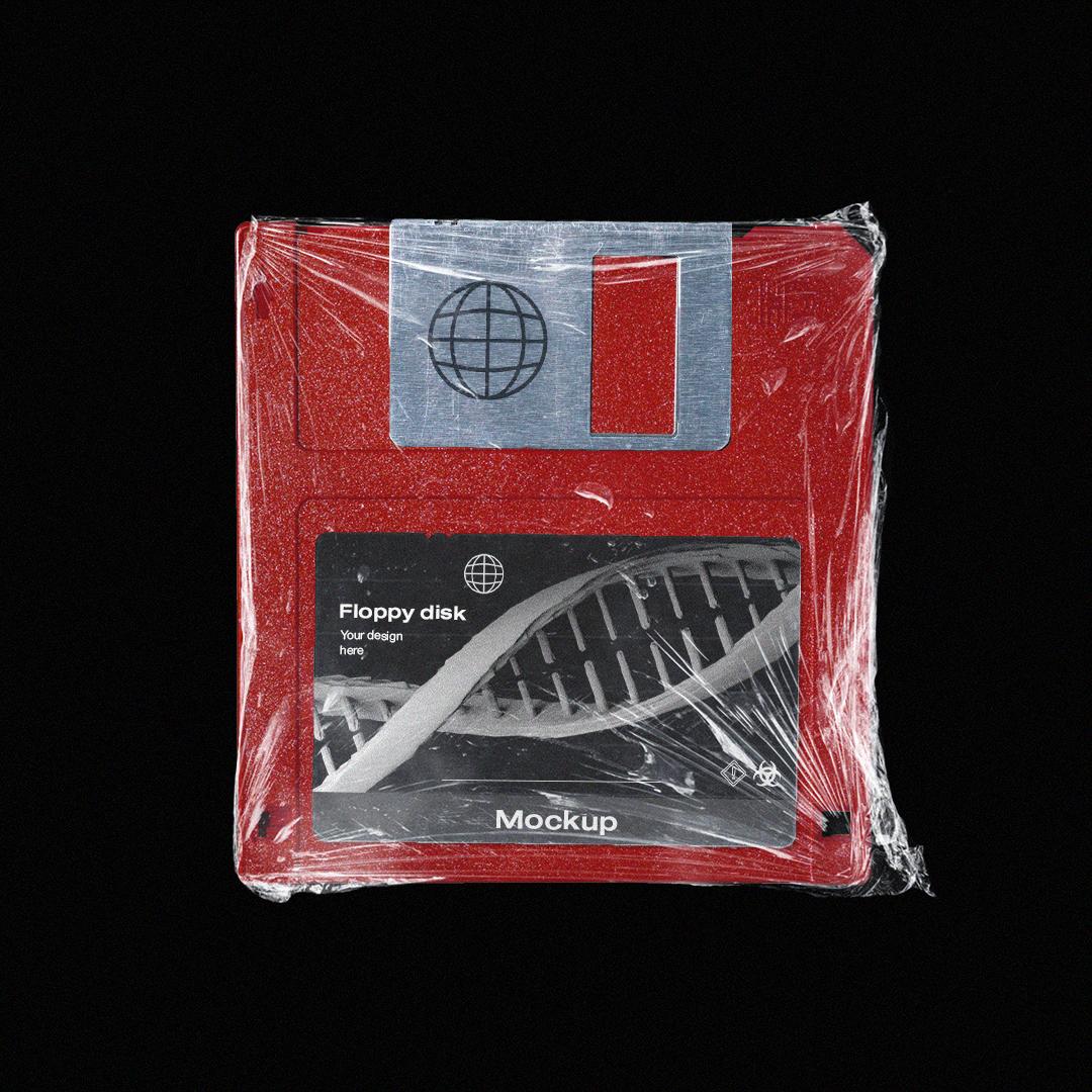 潮流复古软盘塑料膜包装贴纸设计展示样机模板 Floppy Disk Mockup Pack插图(2)
