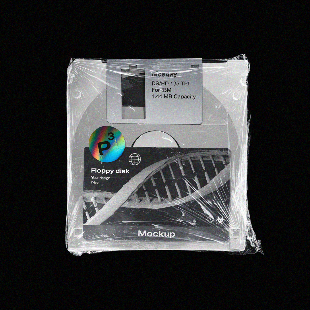 潮流复古软盘塑料膜包装贴纸设计展示样机模板 Floppy Disk Mockup Pack插图(3)