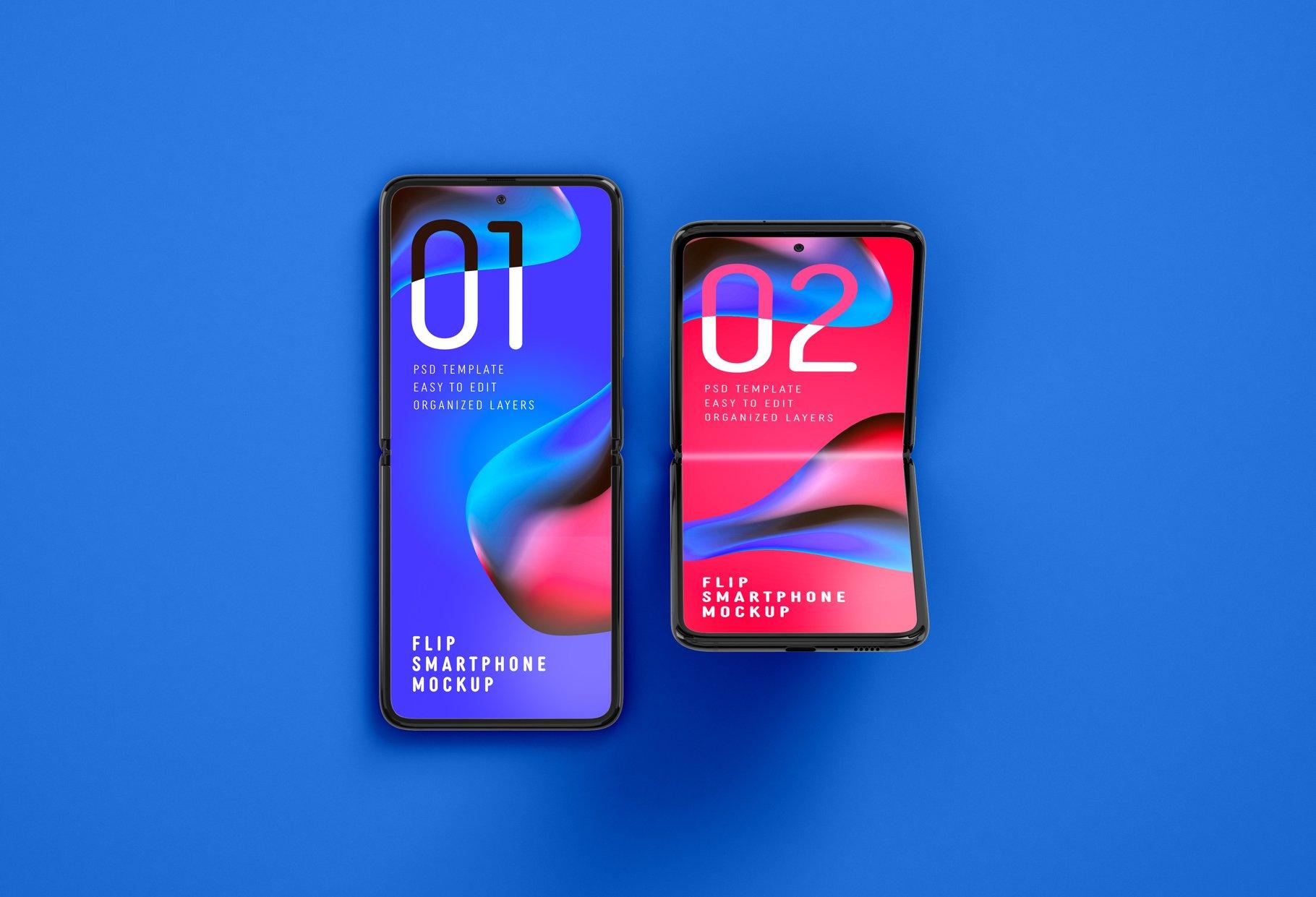 11款APP应用设计三星Galaxy Z手机屏幕演示样机模板 Galaxy Z Flip Mockup | Folding Phone插图(2)