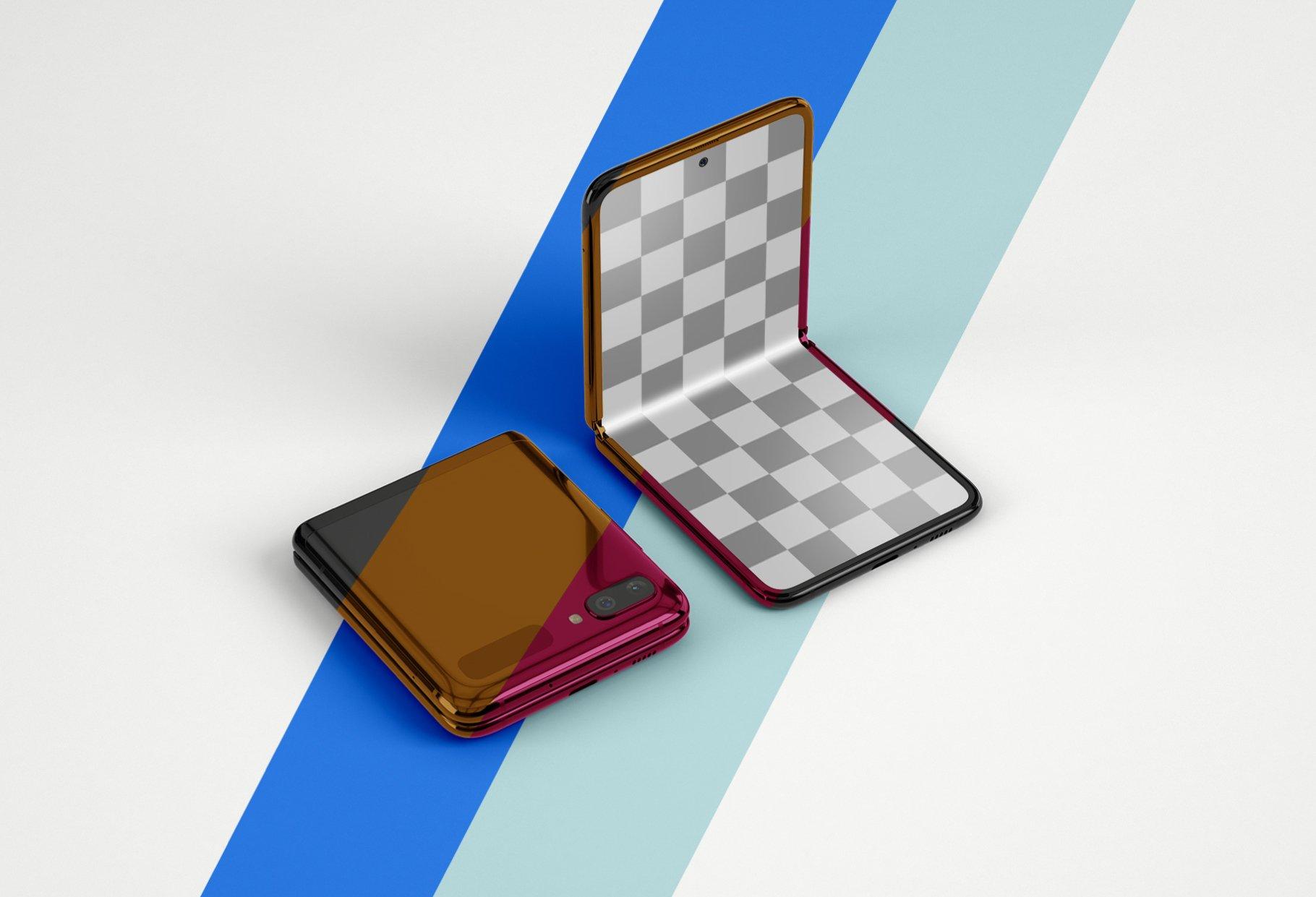 11款APP应用设计三星Galaxy Z手机屏幕演示样机模板 Galaxy Z Flip Mockup | Folding Phone插图(12)