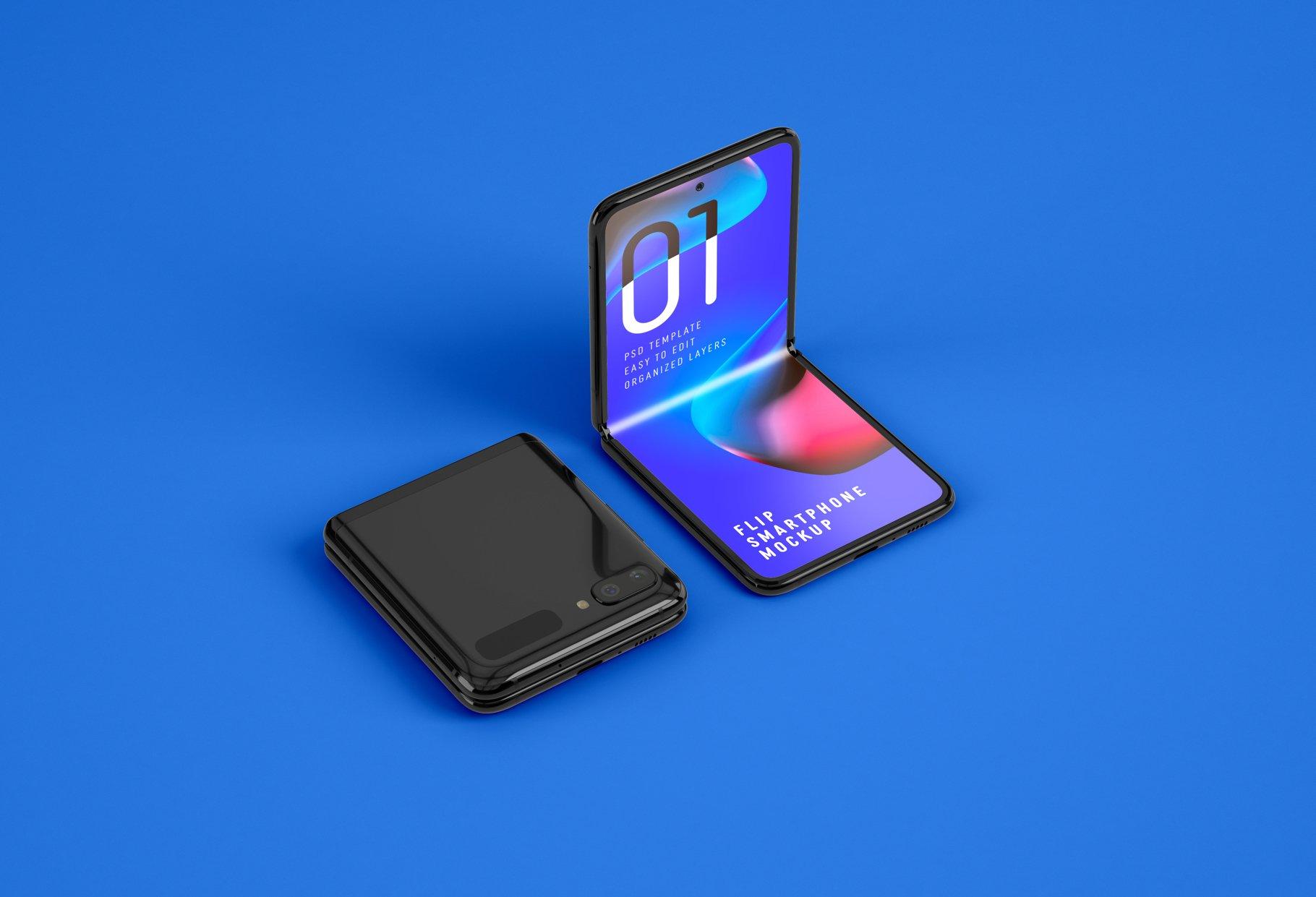 11款APP应用设计三星Galaxy Z手机屏幕演示样机模板 Galaxy Z Flip Mockup | Folding Phone插图(5)