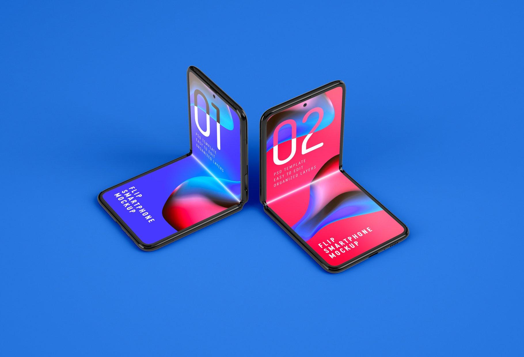 11款APP应用设计三星Galaxy Z手机屏幕演示样机模板 Galaxy Z Flip Mockup | Folding Phone插图(6)