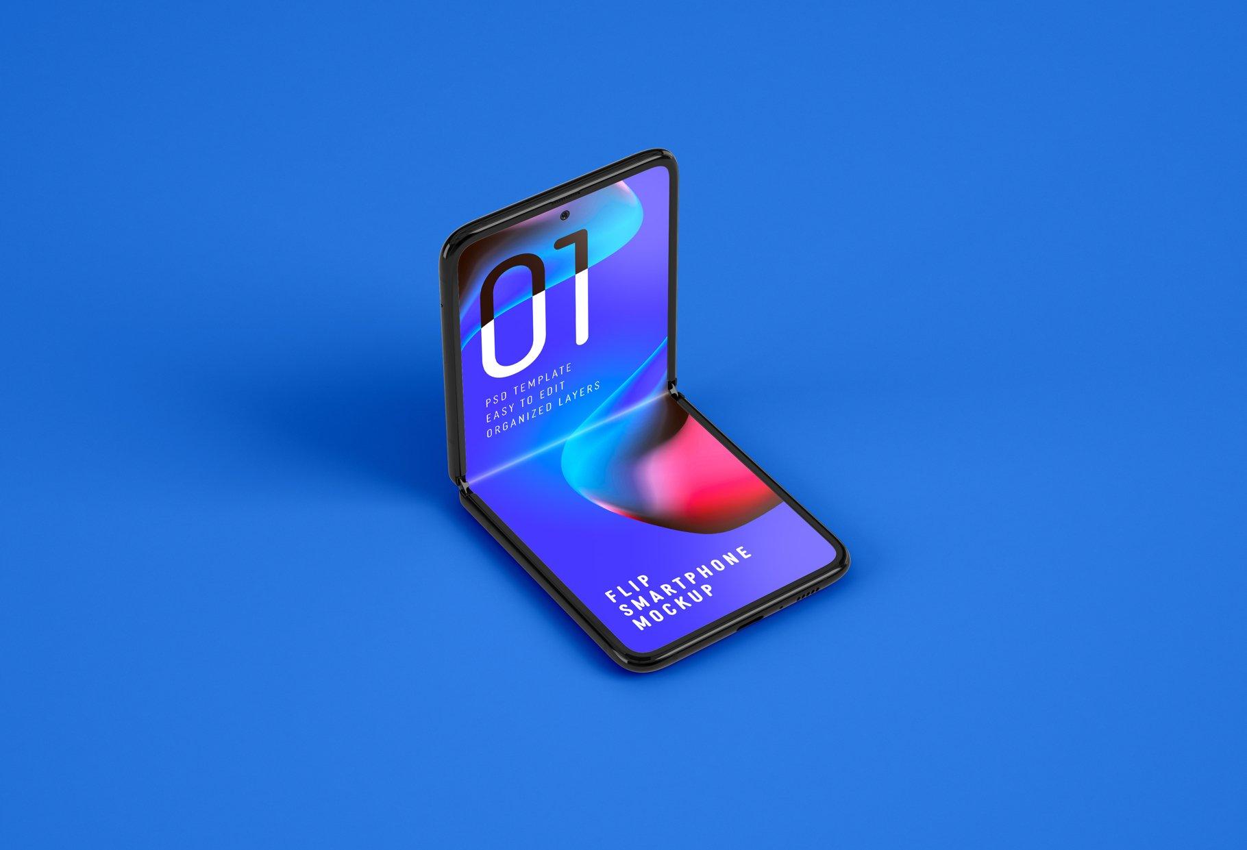 11款APP应用设计三星Galaxy Z手机屏幕演示样机模板 Galaxy Z Flip Mockup | Folding Phone插图(10)