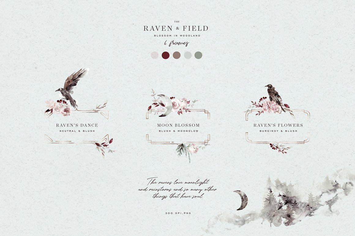 100多款高清手绘花卉植物山脉水彩画PNG透明图片素材 Woodland Ravens Field插图(7)