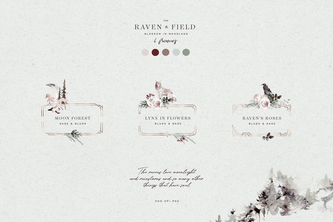 100多款高清手绘花卉植物山脉水彩画PNG透明图片素材 Woodland Ravens Field插图(8)