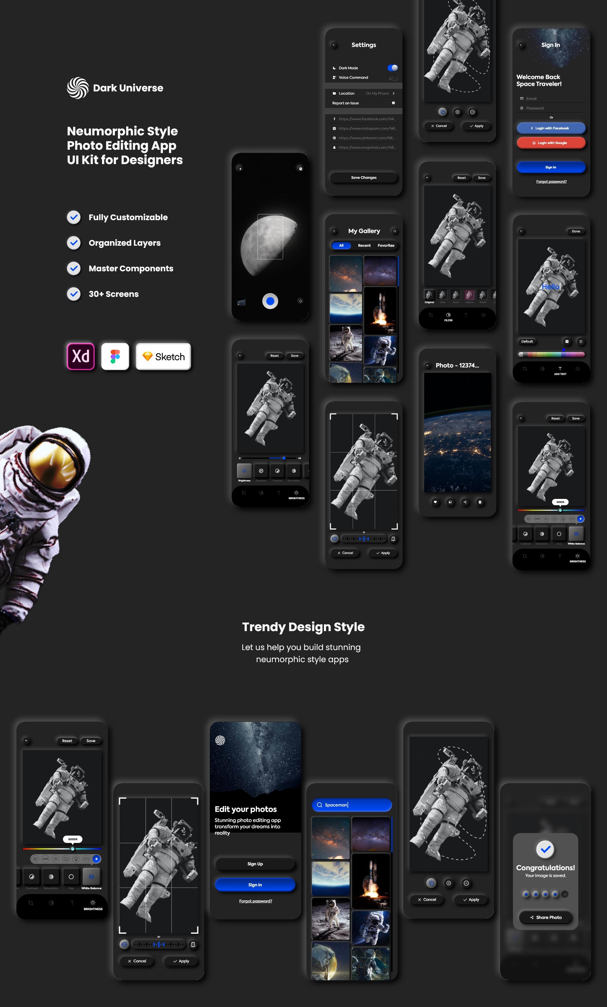 暗黑照片编辑管理社交应用程序APP UI套件 Dark Universe – Photo Editing App Neumorphic UI Kit (Dark Mode)插图(6)