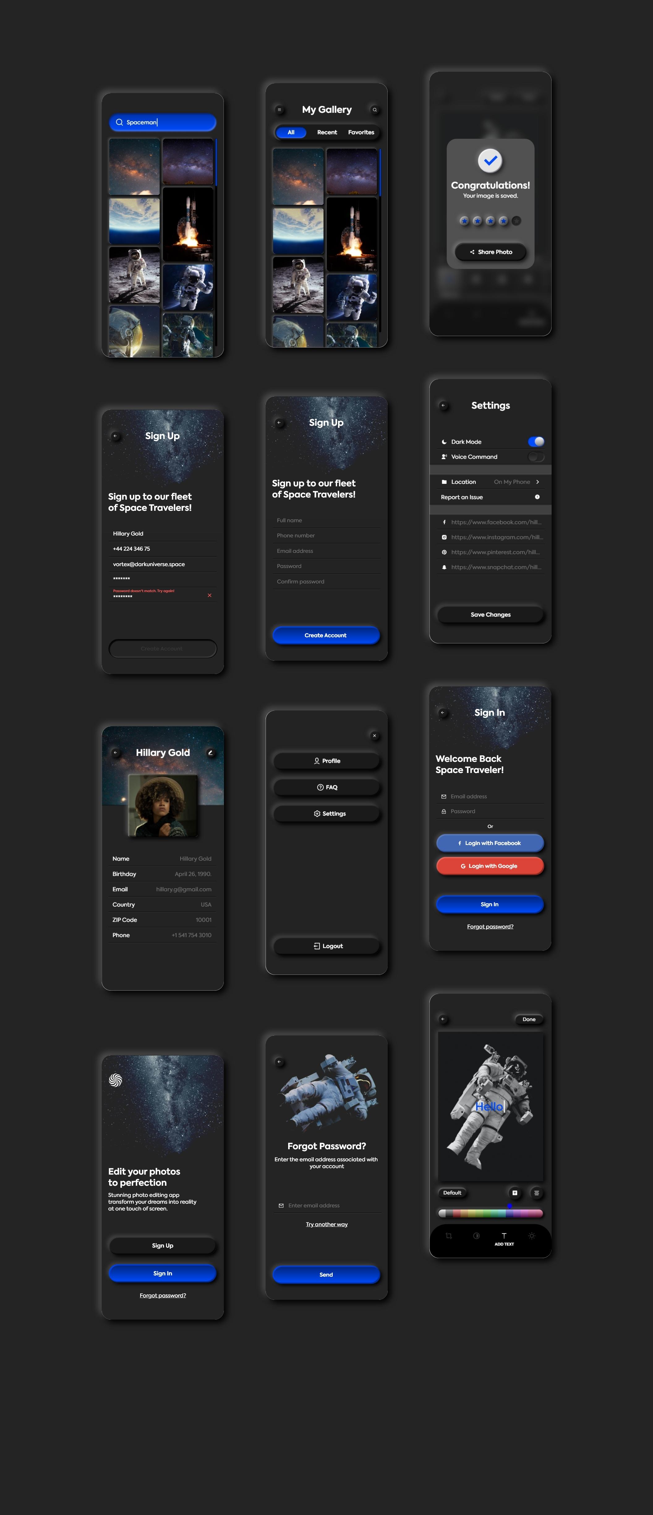 暗黑照片编辑管理社交应用程序APP UI套件 Dark Universe – Photo Editing App Neumorphic UI Kit (Dark Mode)插图(8)