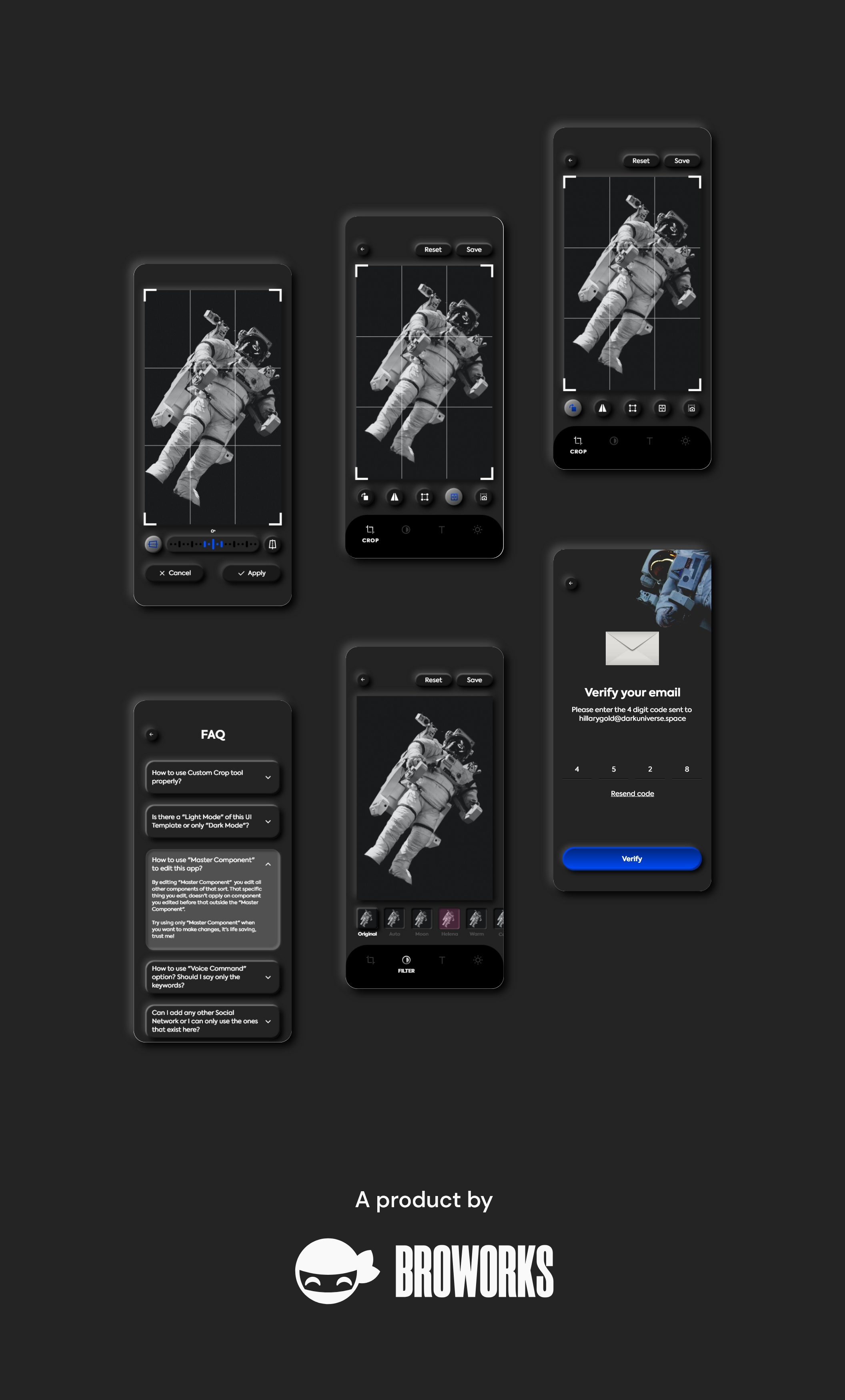 暗黑照片编辑管理社交应用程序APP UI套件 Dark Universe – Photo Editing App Neumorphic UI Kit (Dark Mode)插图(10)