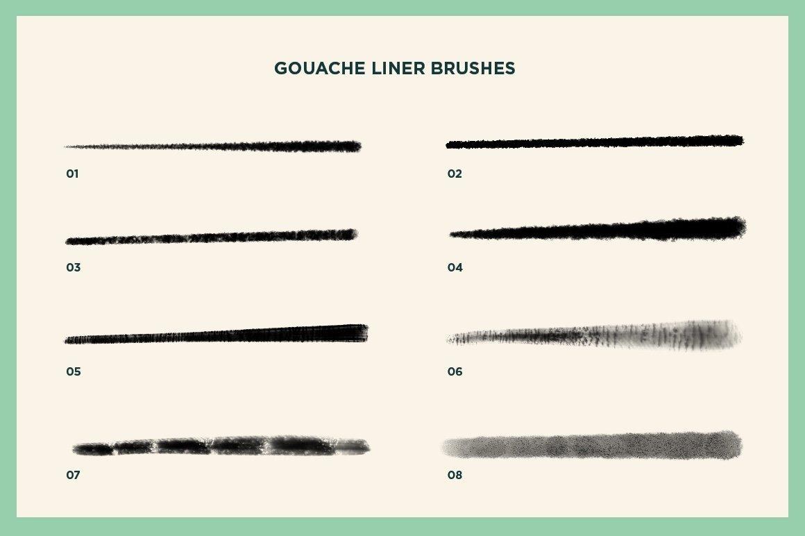 60款水粉粉笔颗粒绘画画笔Procreate笔刷 Gouache Shader Brushes For Procreate插图(9)