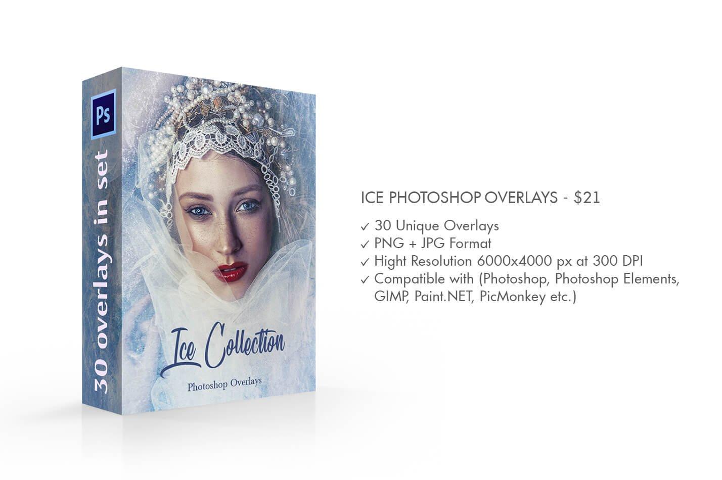 30款高清冬季冰雪PS叠加层背景图片素材 Ice Photoshop Overlays插图(1)