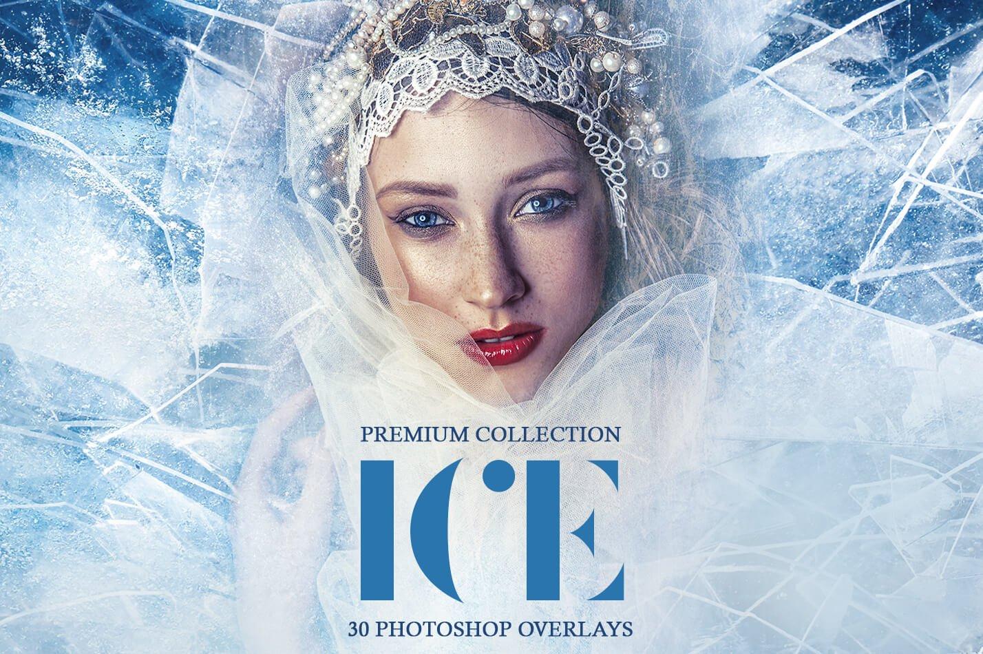 30款高清冬季冰雪PS叠加层背景图片素材 Ice Photoshop Overlays插图