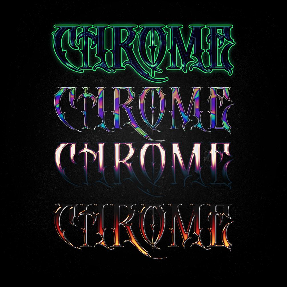 [淘宝购买] 4款金属镀铬立体字平面广告海报标题徽标设计PS样式模板 4 Chrome Type Layer Styles插图