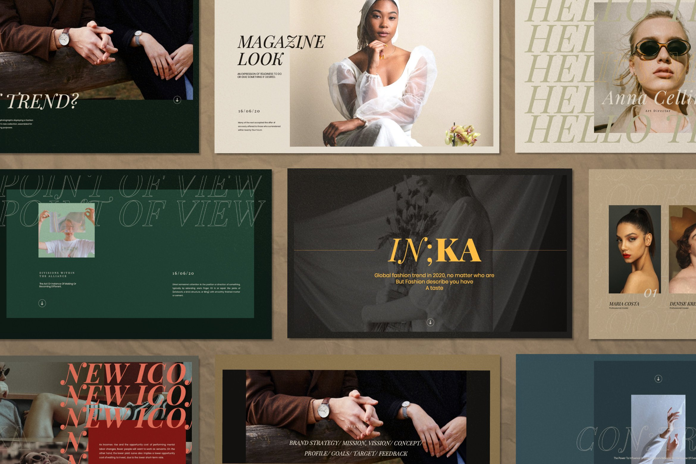 时尚创意服装摄影作品集幻灯片设计模板 Iconic – Fashion Lookbook PowerPoint插图
