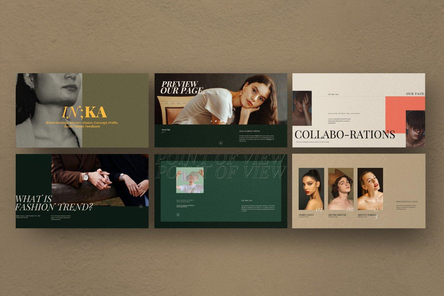 时尚创意服装摄影作品集幻灯片设计模板 Iconic – Fashion Lookbook PowerPoint插图(3)