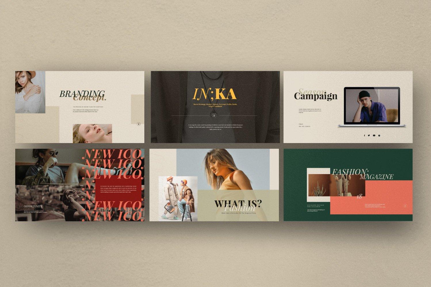 时尚创意服装摄影作品集幻灯片设计模板 Iconic – Fashion Lookbook PowerPoint插图(6)