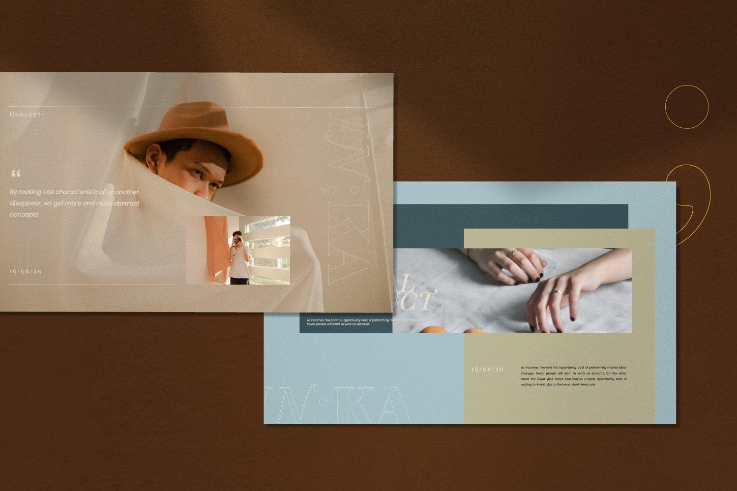 时尚创意服装摄影作品集幻灯片设计模板 Iconic – Fashion Lookbook PowerPoint插图(9)