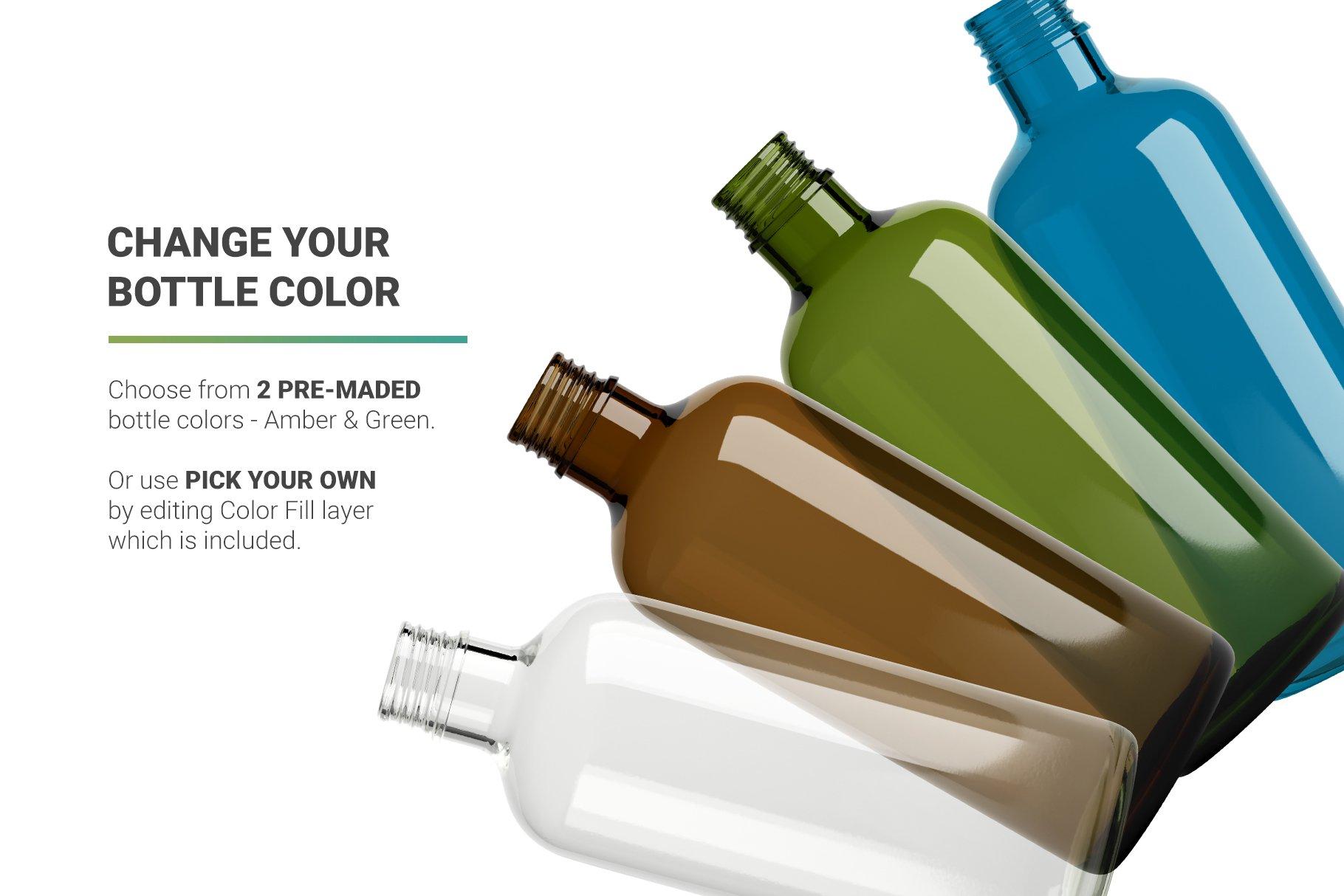 透明果汁玻璃瓶设计展示样机 Juice Bottle Mockup插图(1)