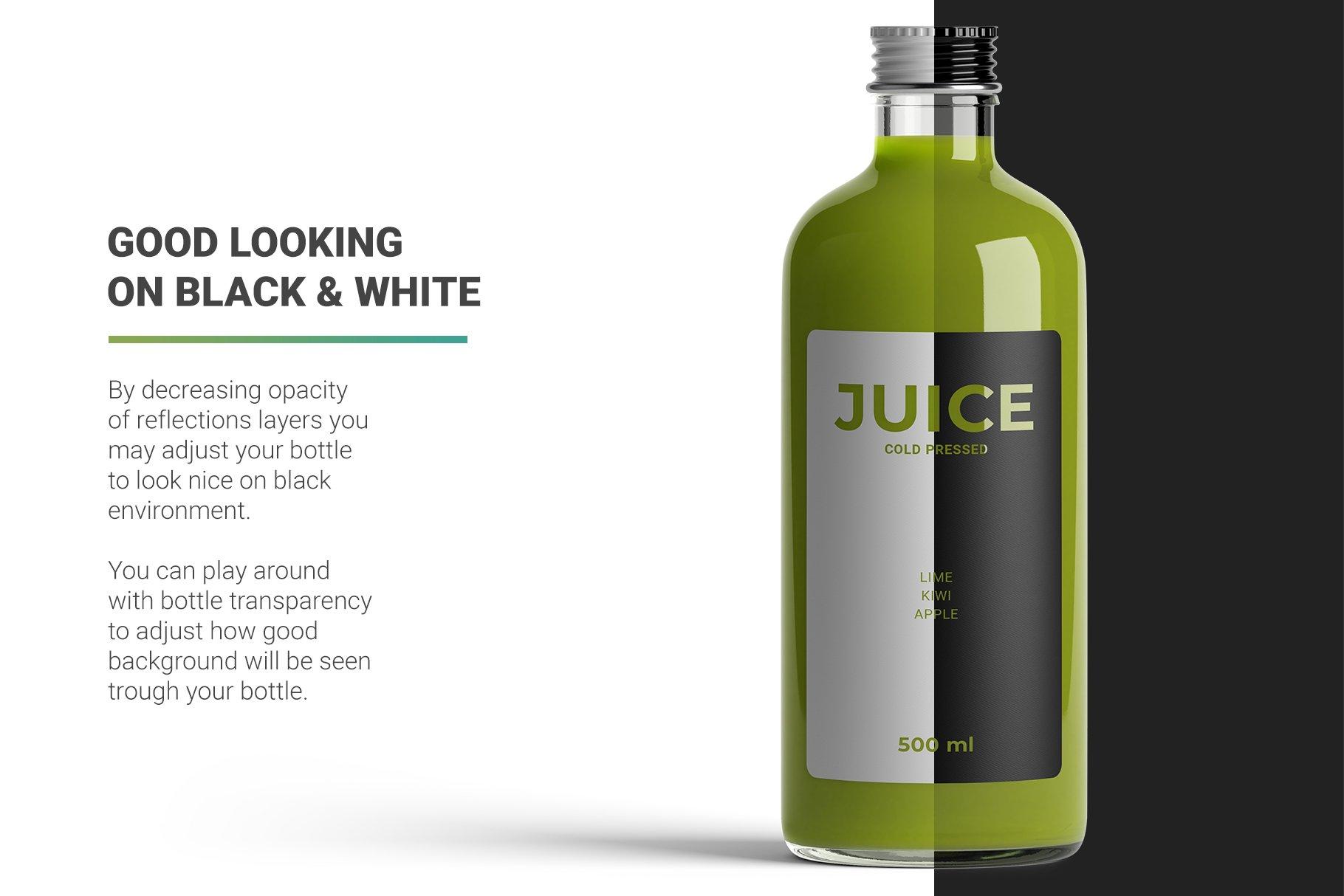透明果汁玻璃瓶设计展示样机 Juice Bottle Mockup插图(2)