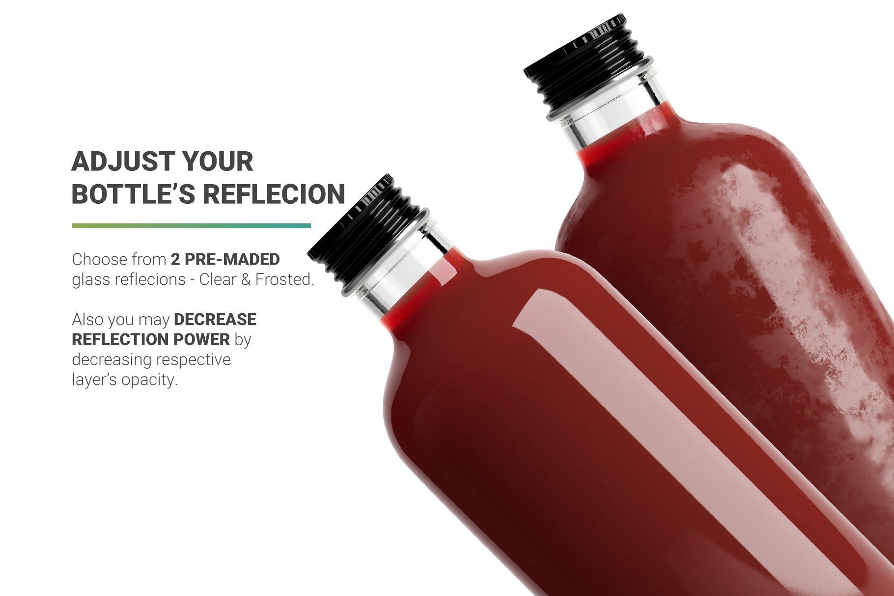 透明果汁玻璃瓶设计展示样机 Juice Bottle Mockup插图(3)