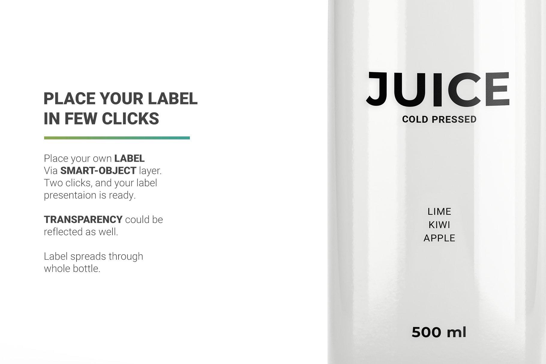 透明果汁玻璃瓶设计展示样机 Juice Bottle Mockup插图(6)