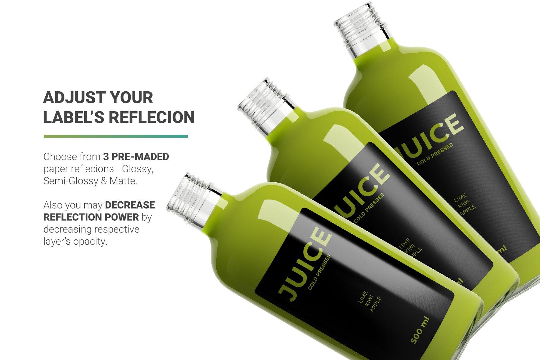 透明果汁玻璃瓶设计展示样机 Juice Bottle Mockup插图(7)