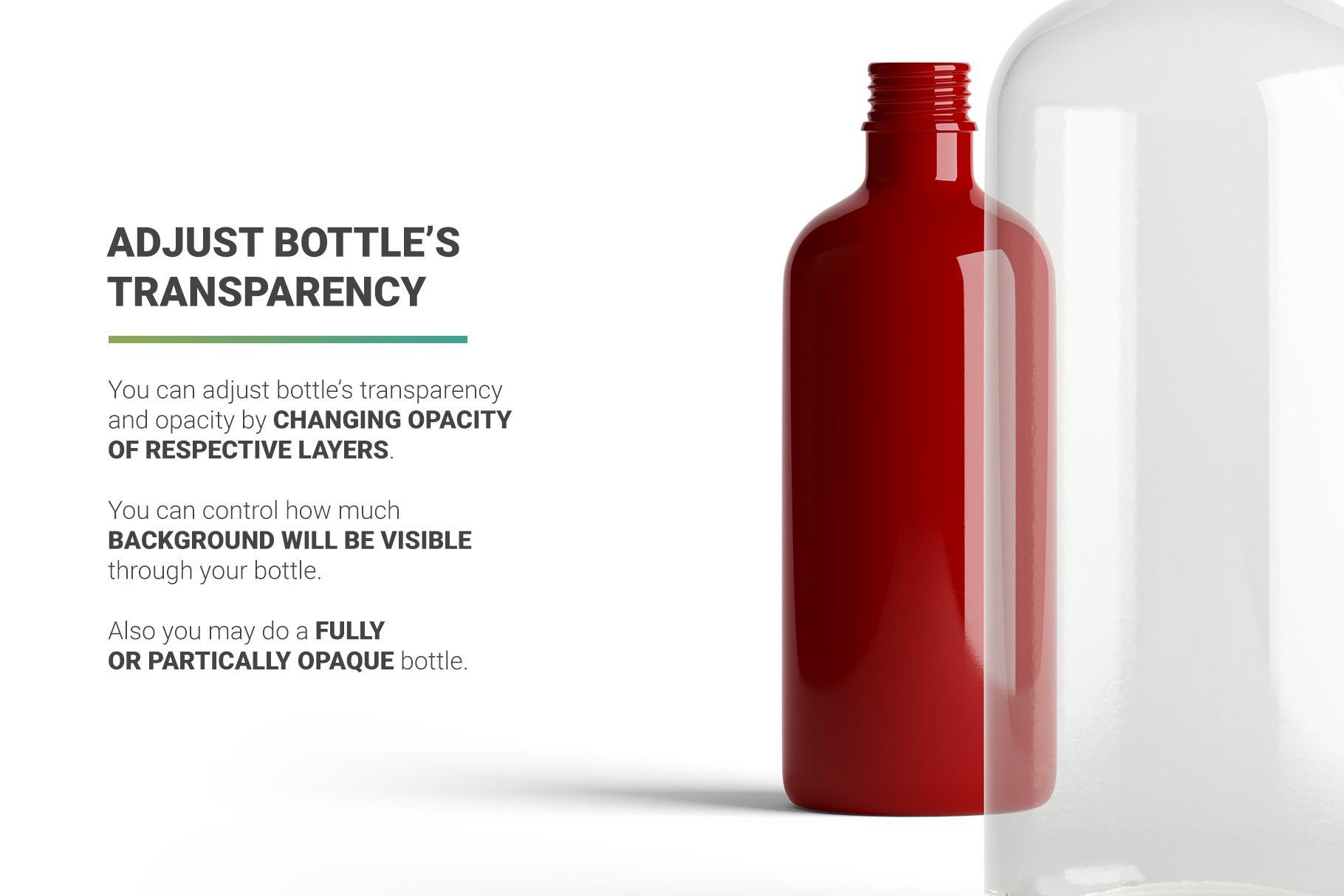 透明果汁玻璃瓶设计展示样机 Juice Bottle Mockup插图(8)
