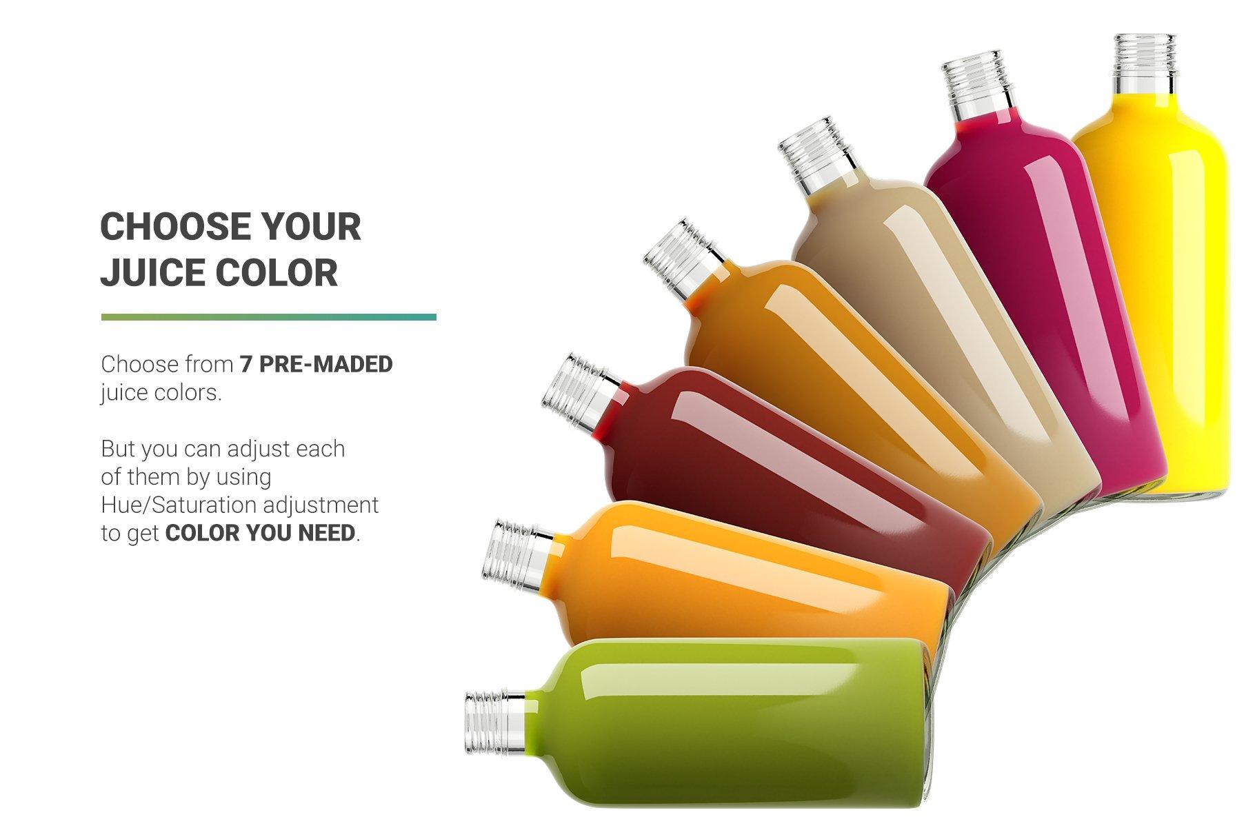 透明果汁玻璃瓶设计展示样机 Juice Bottle Mockup插图(9)